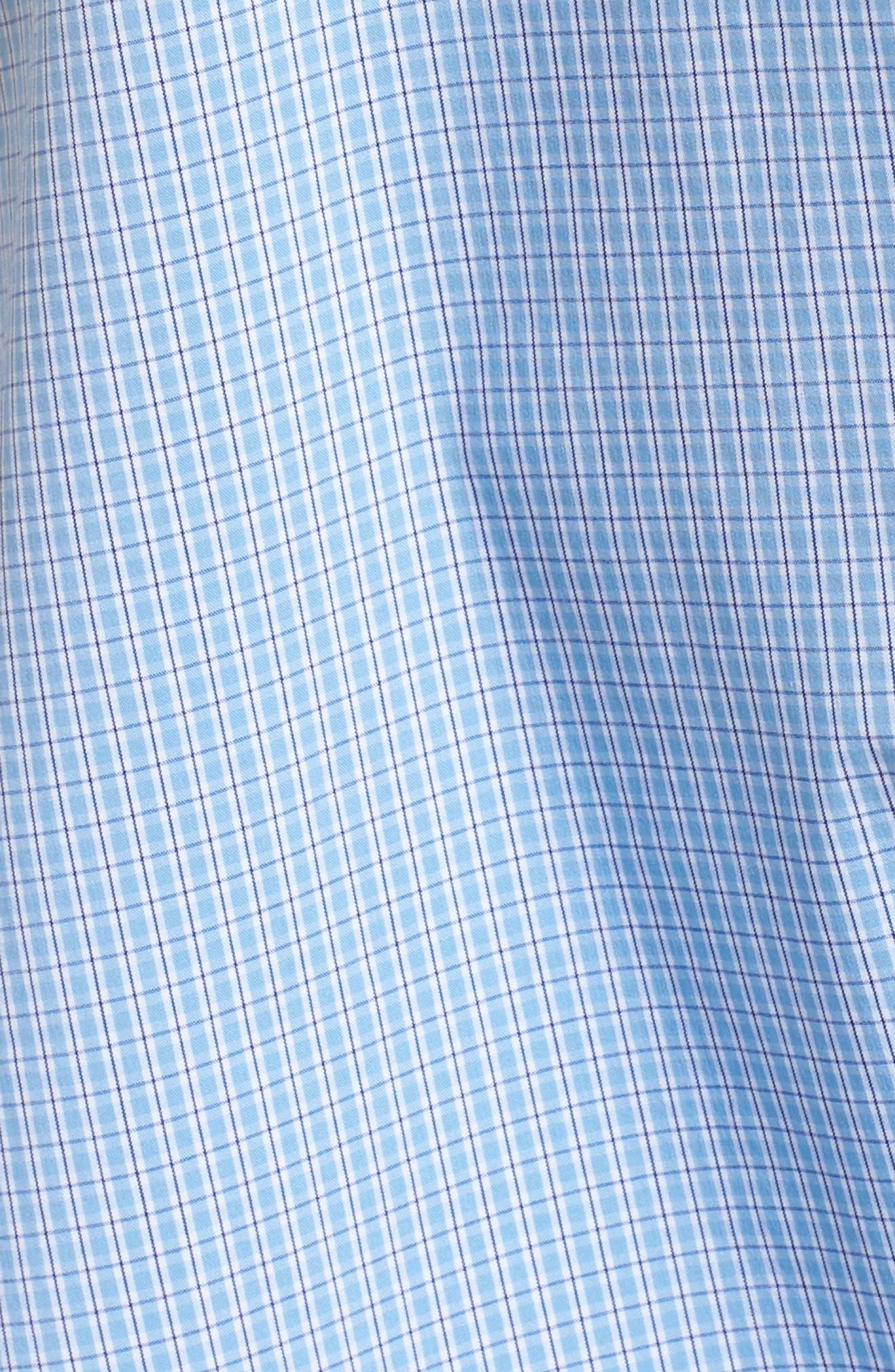 Side Tie Stretch Poplin Top,                             Alternate thumbnail 5, color,                             Blue Lily Plaid