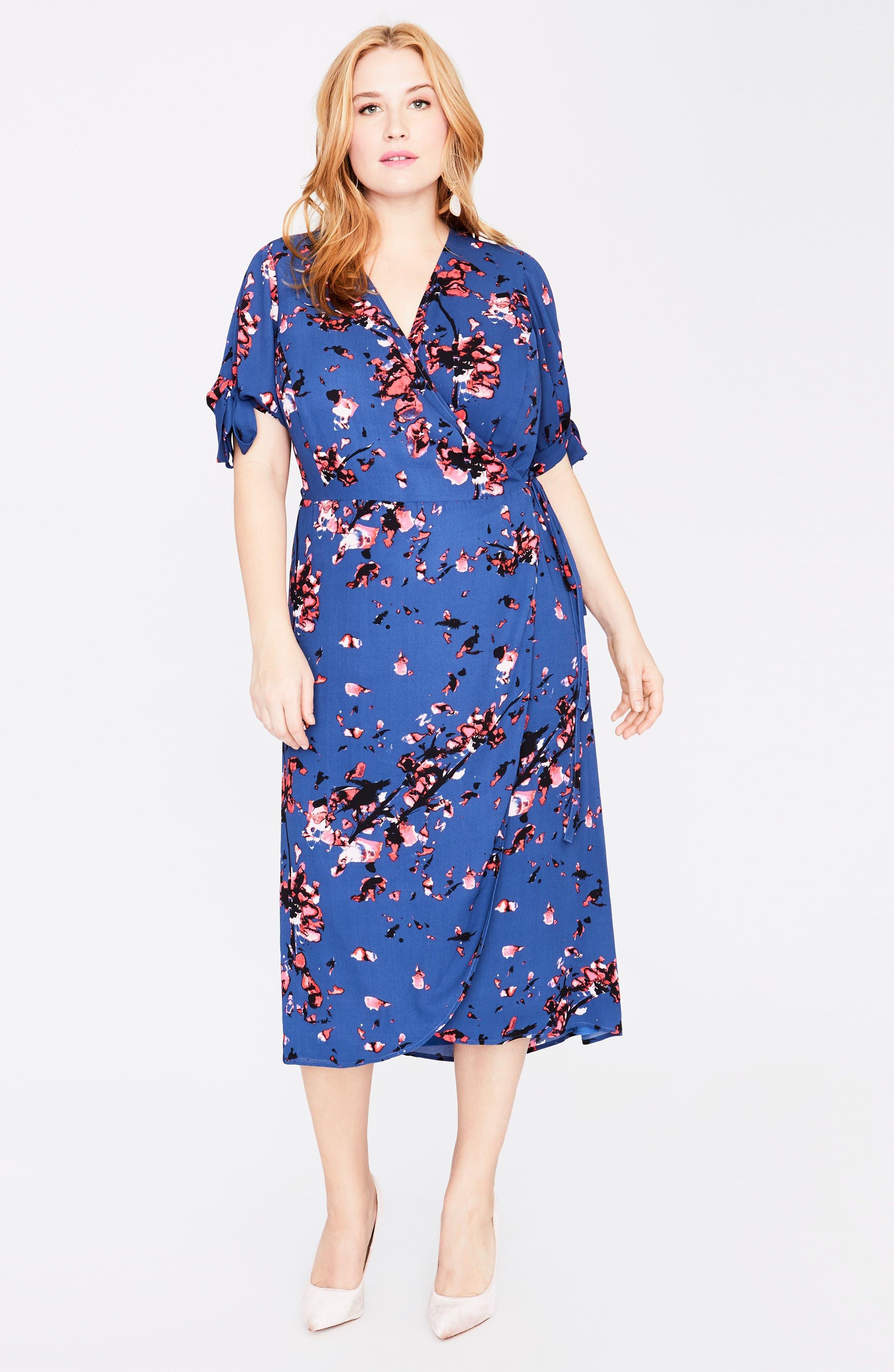 Floral Print Wrap Midi Dress,                             Alternate thumbnail 2, color,                             African Violet Combo