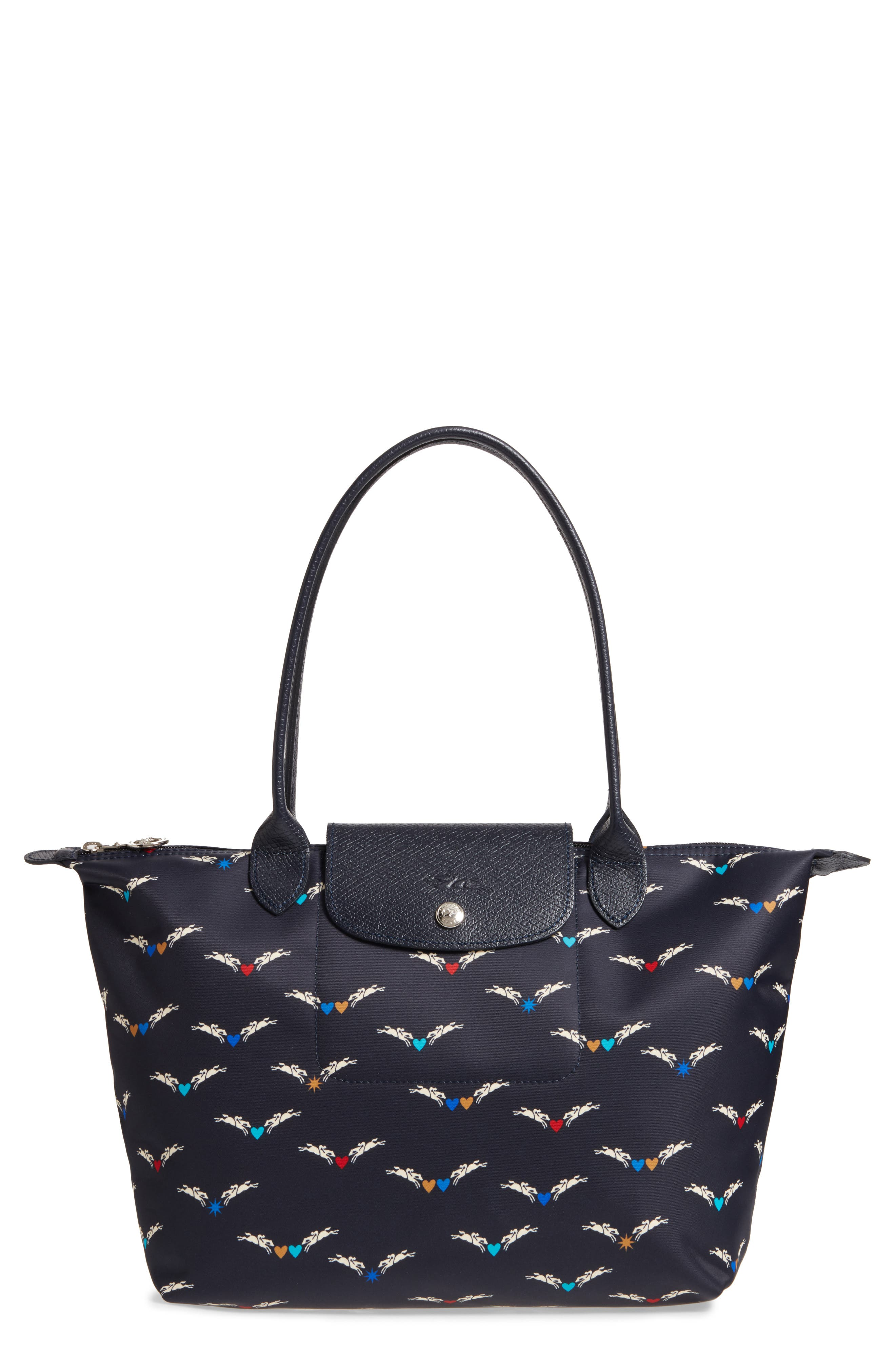 Small Le Pliage- Chevaux Tote,                             Main thumbnail 1, color,                             Navy