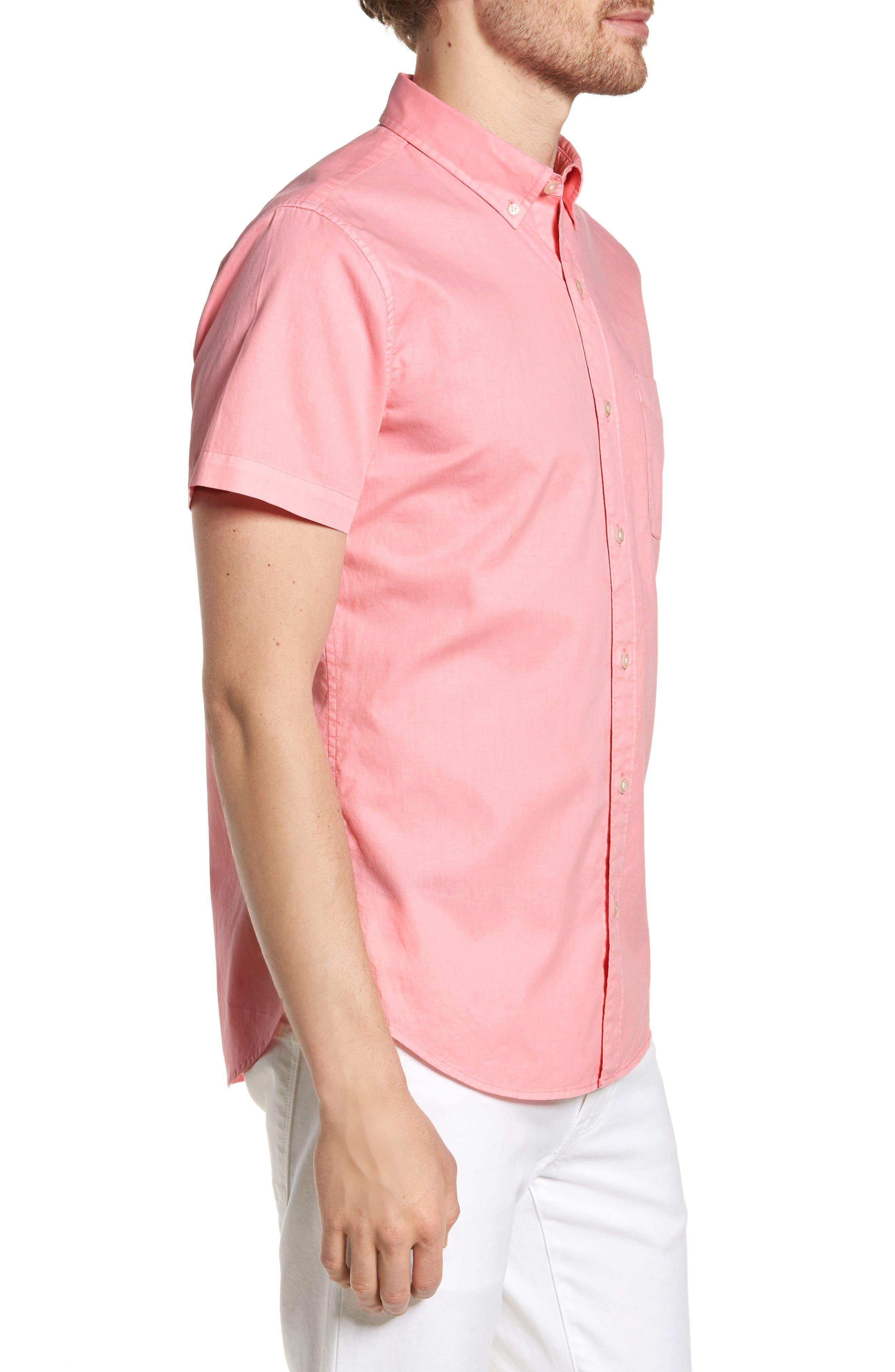 Slim Fit Short Sleeve Sport Shirt,                             Alternate thumbnail 4, color,                             Garment Dye - Pacific Pink