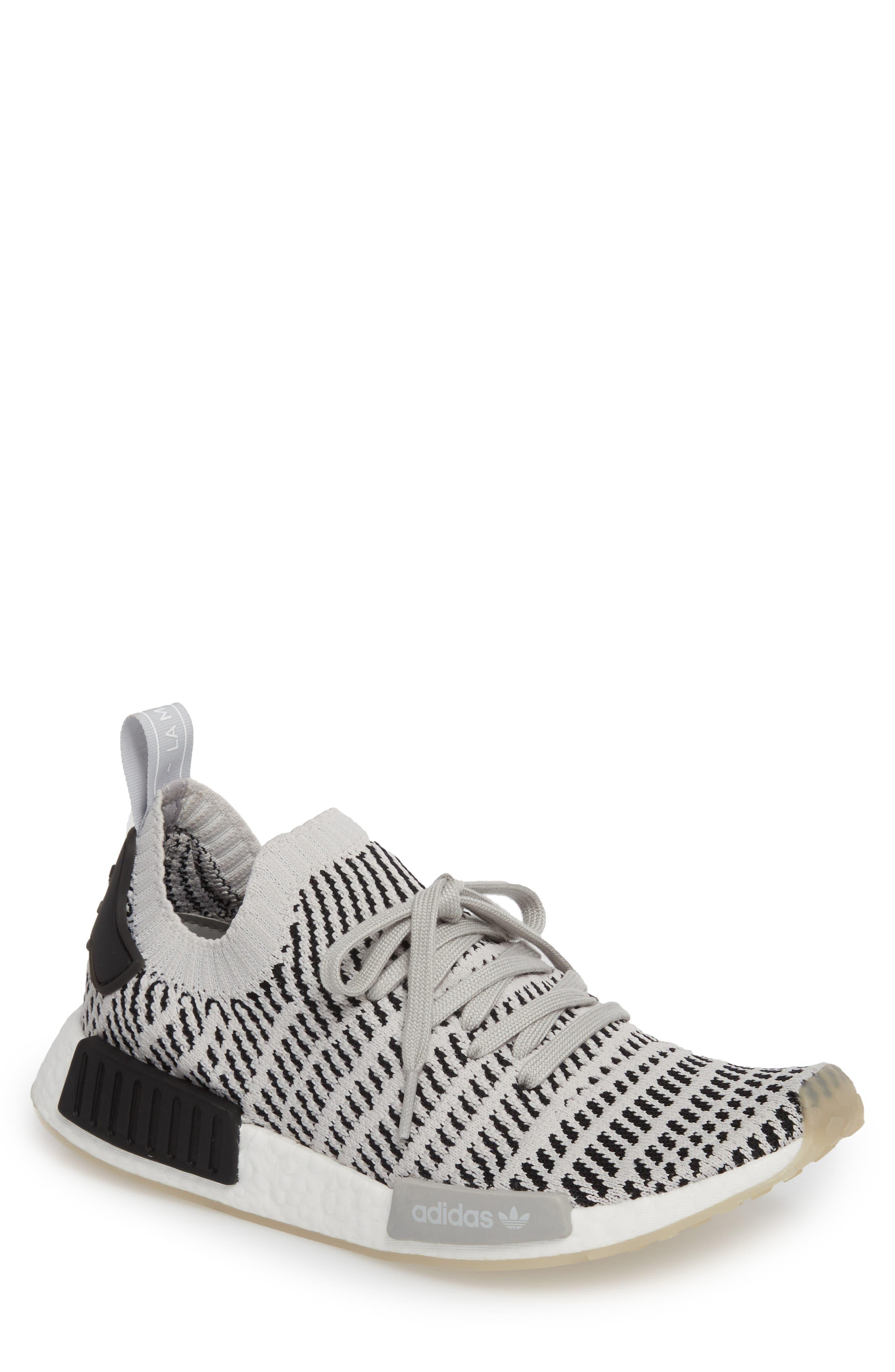 NMD R1 STLT Primeknit Sneaker,                         Main,                         color, Grey/ Core Black