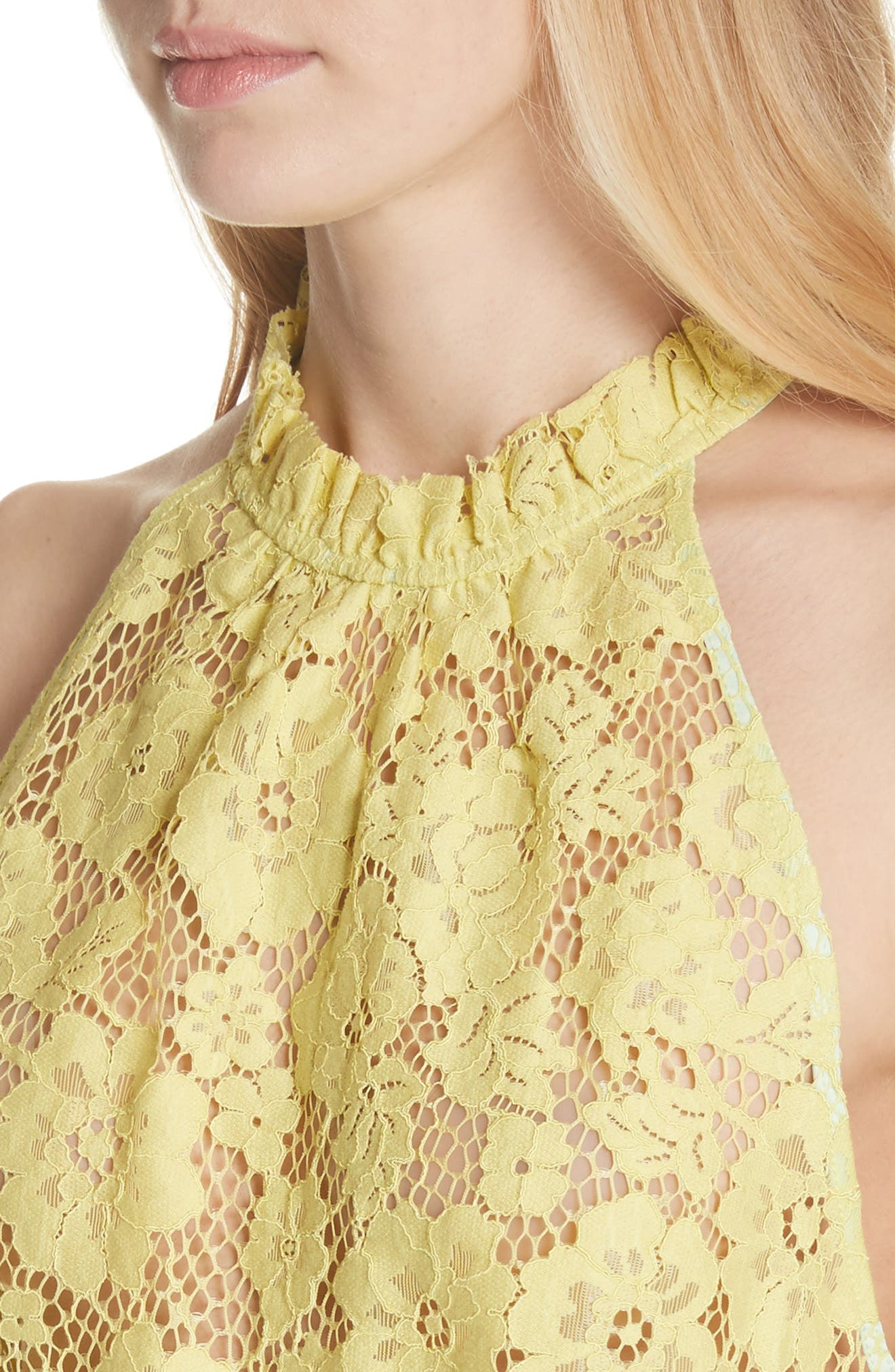Sweet Meadow Dreams Lace Top,                             Alternate thumbnail 4, color,                             Chartreuse