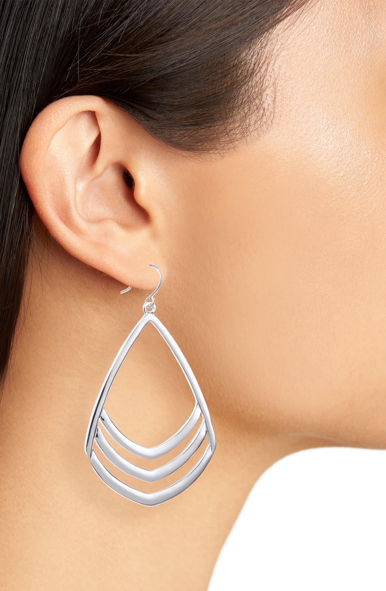 Pear Drop Earrings,                             Alternate thumbnail 2, color,                             Silver