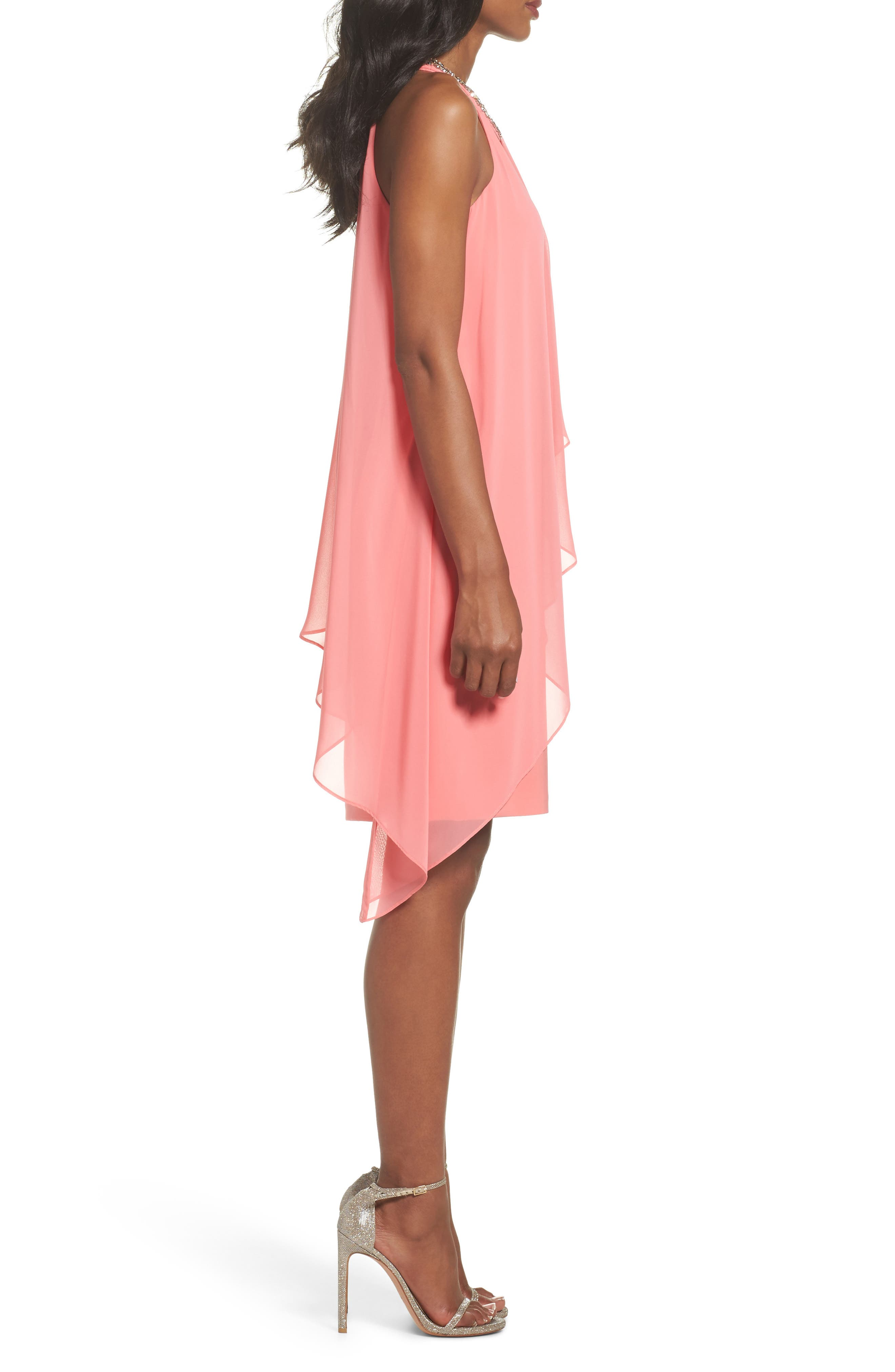 Embellished Chiffon Overlay A-Line Dress,                             Alternate thumbnail 3, color,                             Guava