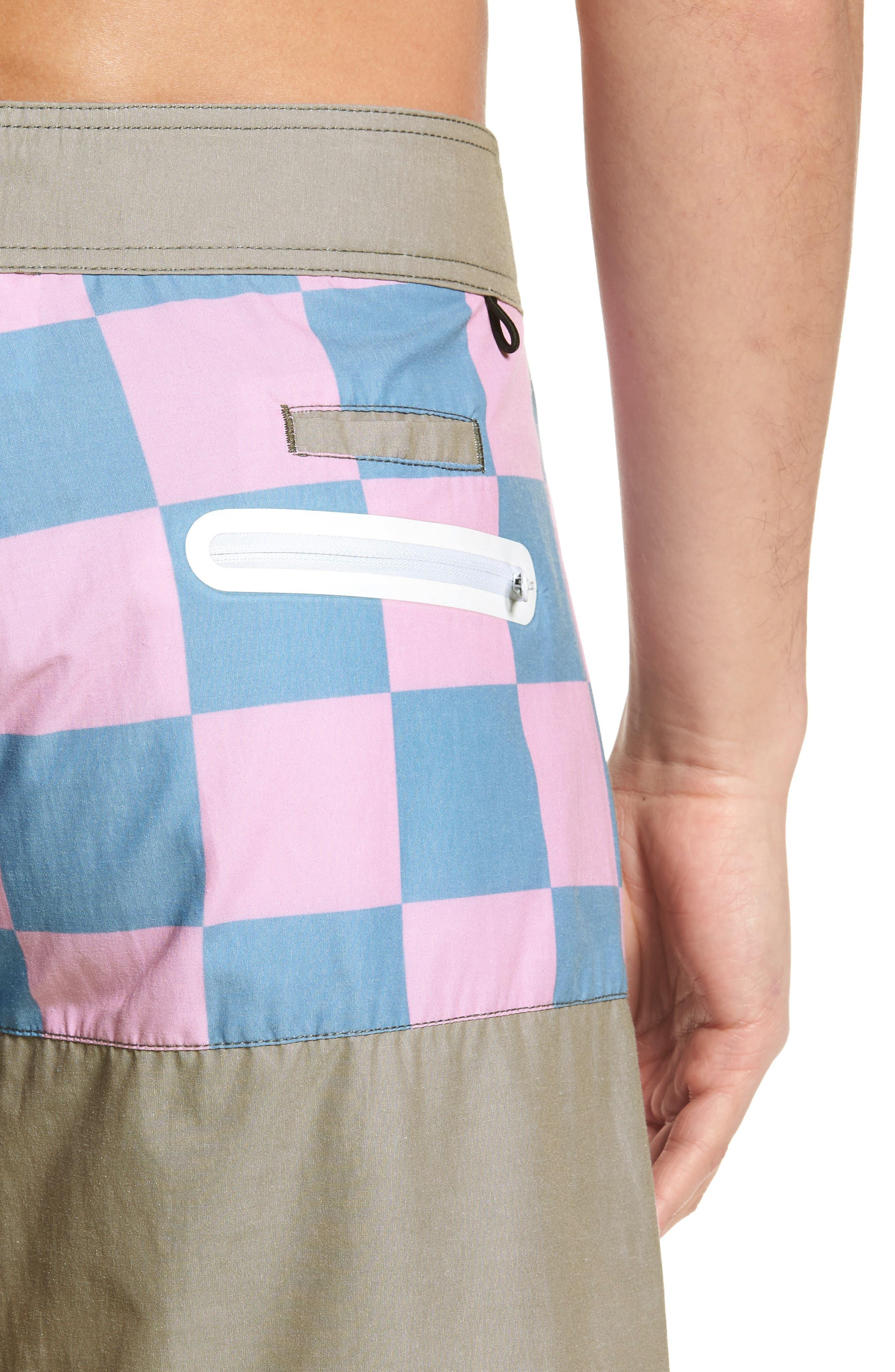 Checkered Board Shorts,                             Alternate thumbnail 4, color,                             Khaki