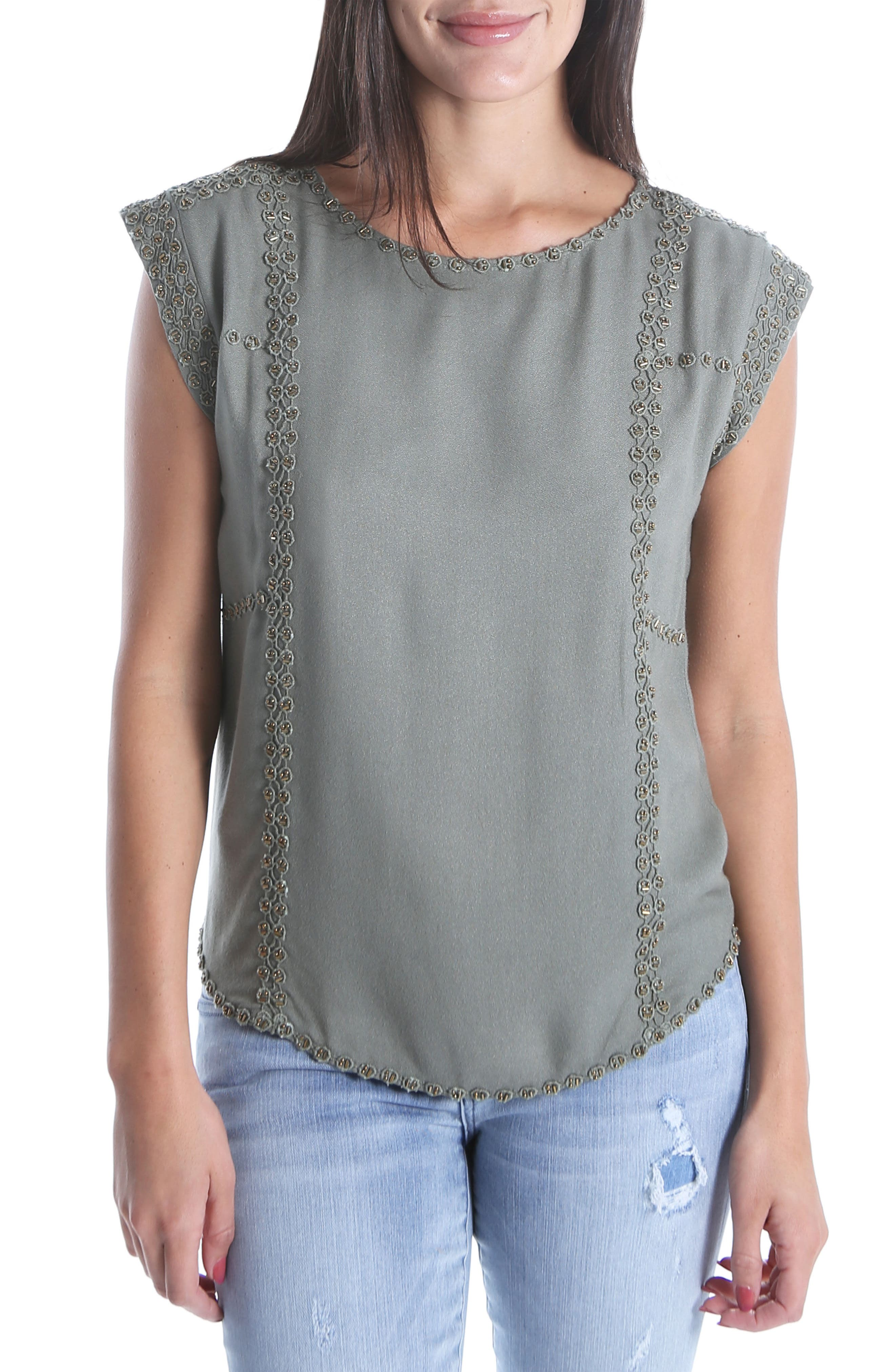 Nenna Embellished Top,                             Main thumbnail 1, color,                             Olive