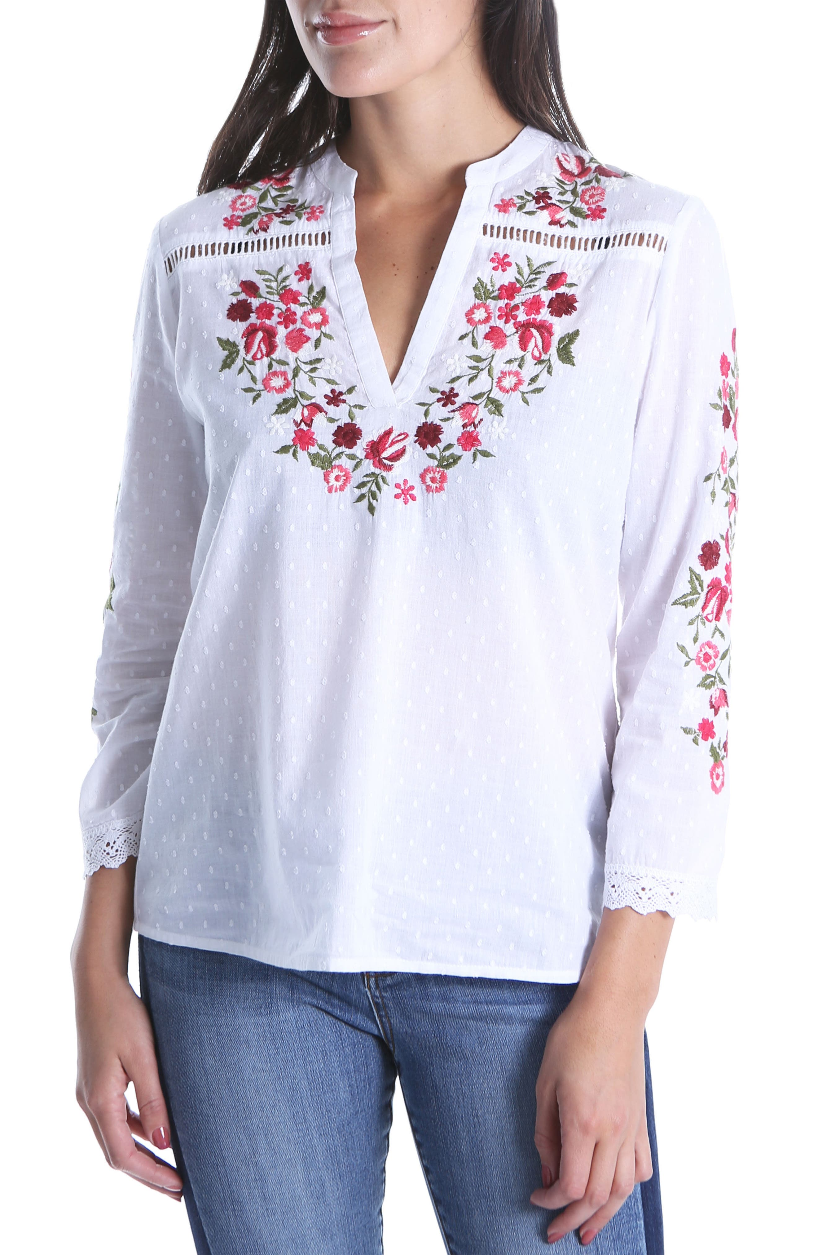 Kat Embroidered Lace Detail Blouse,                             Main thumbnail 1, color,                             White