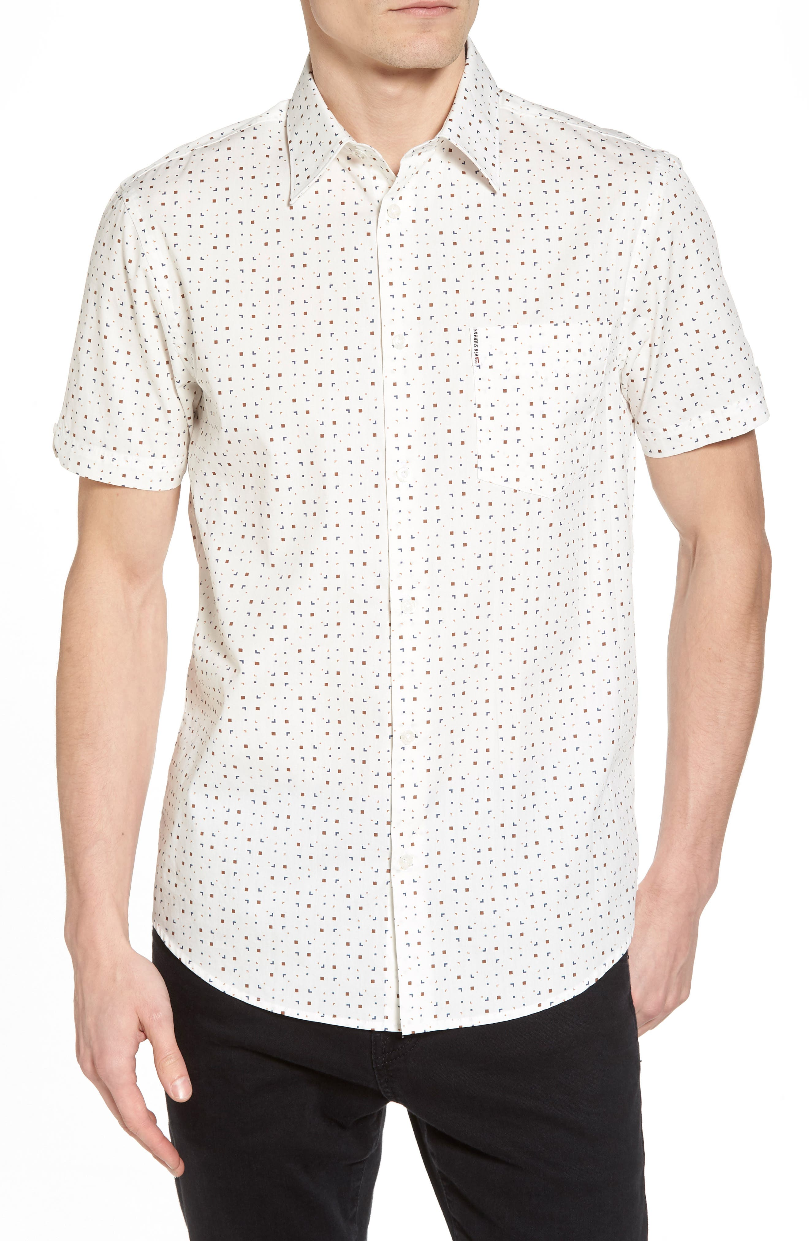 Scattered Geo Woven Shirt,                             Main thumbnail 1, color,                             Off White