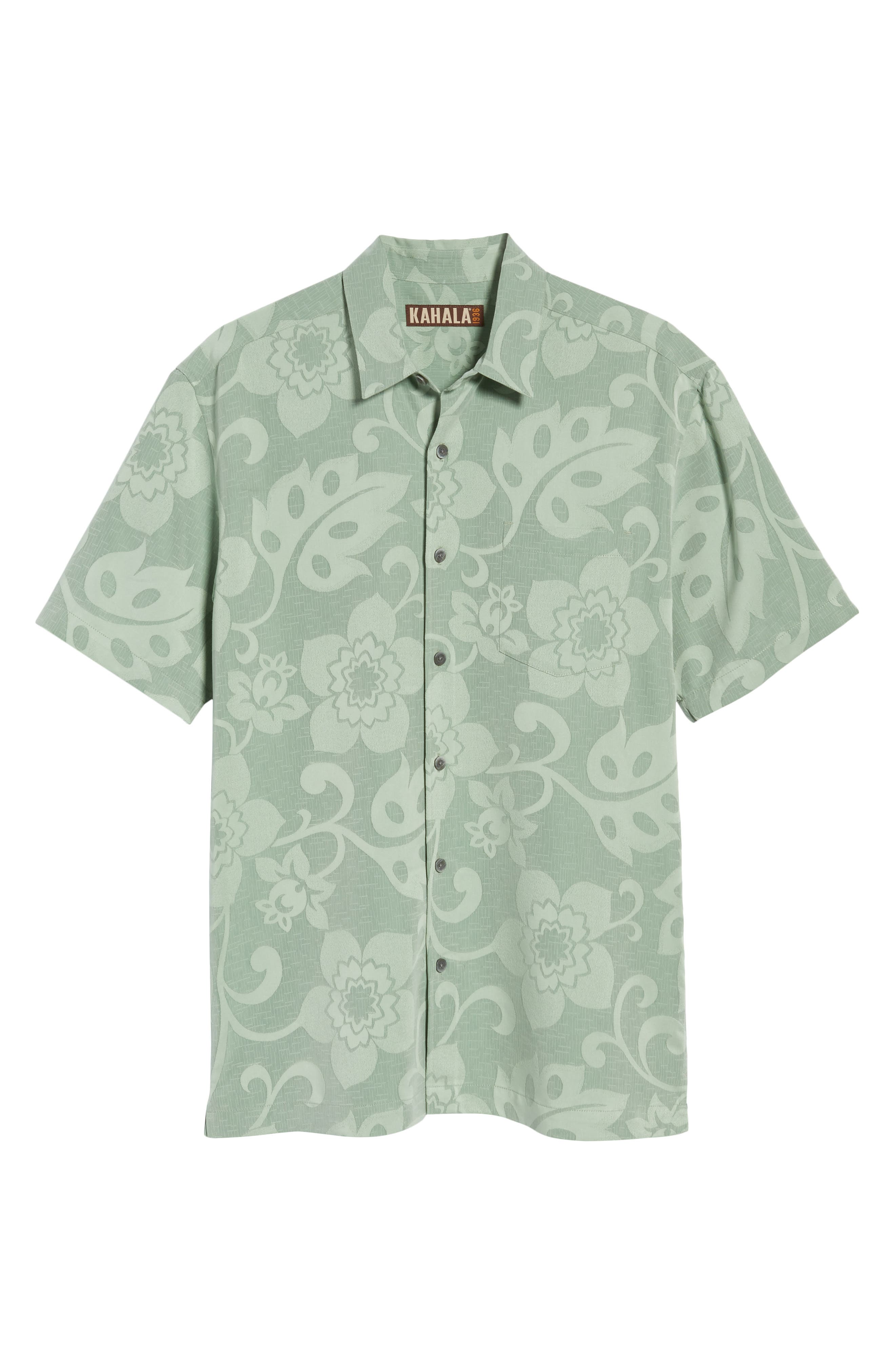 Kalawai Relaxed Fit Camp Shirt,                             Alternate thumbnail 6, color,                             Green