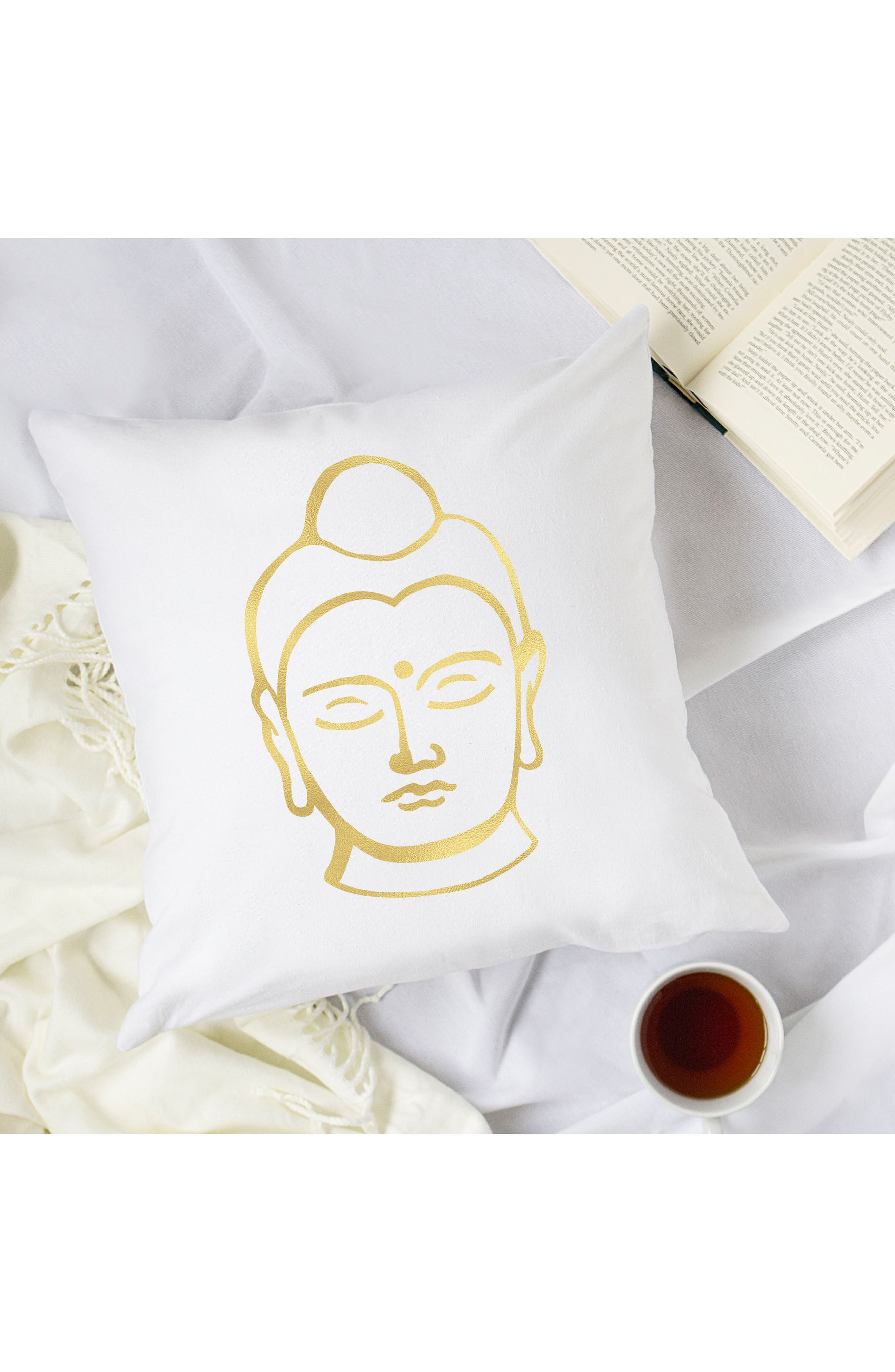 Buddha Accent Pillow,                             Alternate thumbnail 4, color,                             Gold