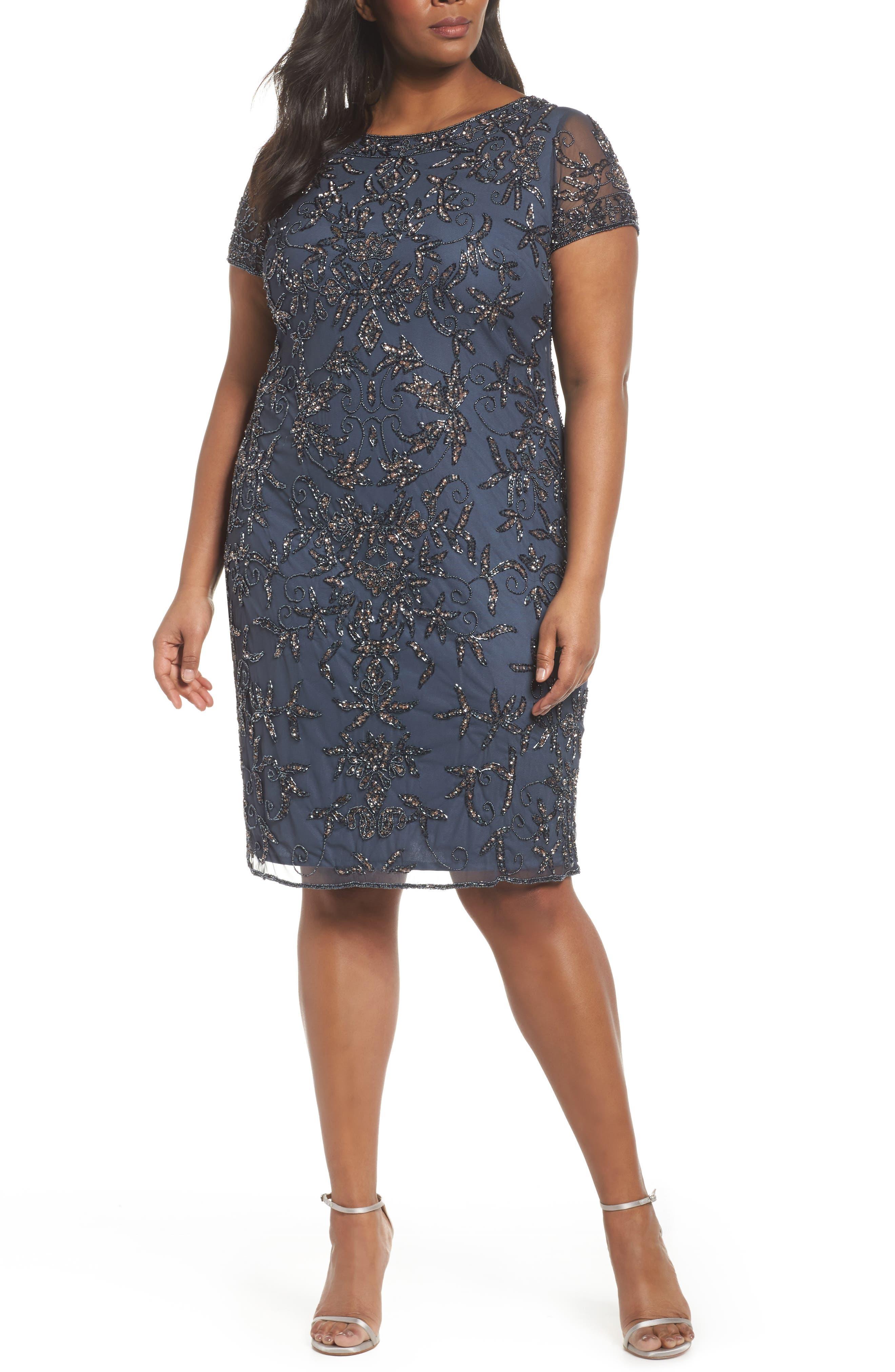 Embellished Sheath Dress,                         Main,                         color, Slate