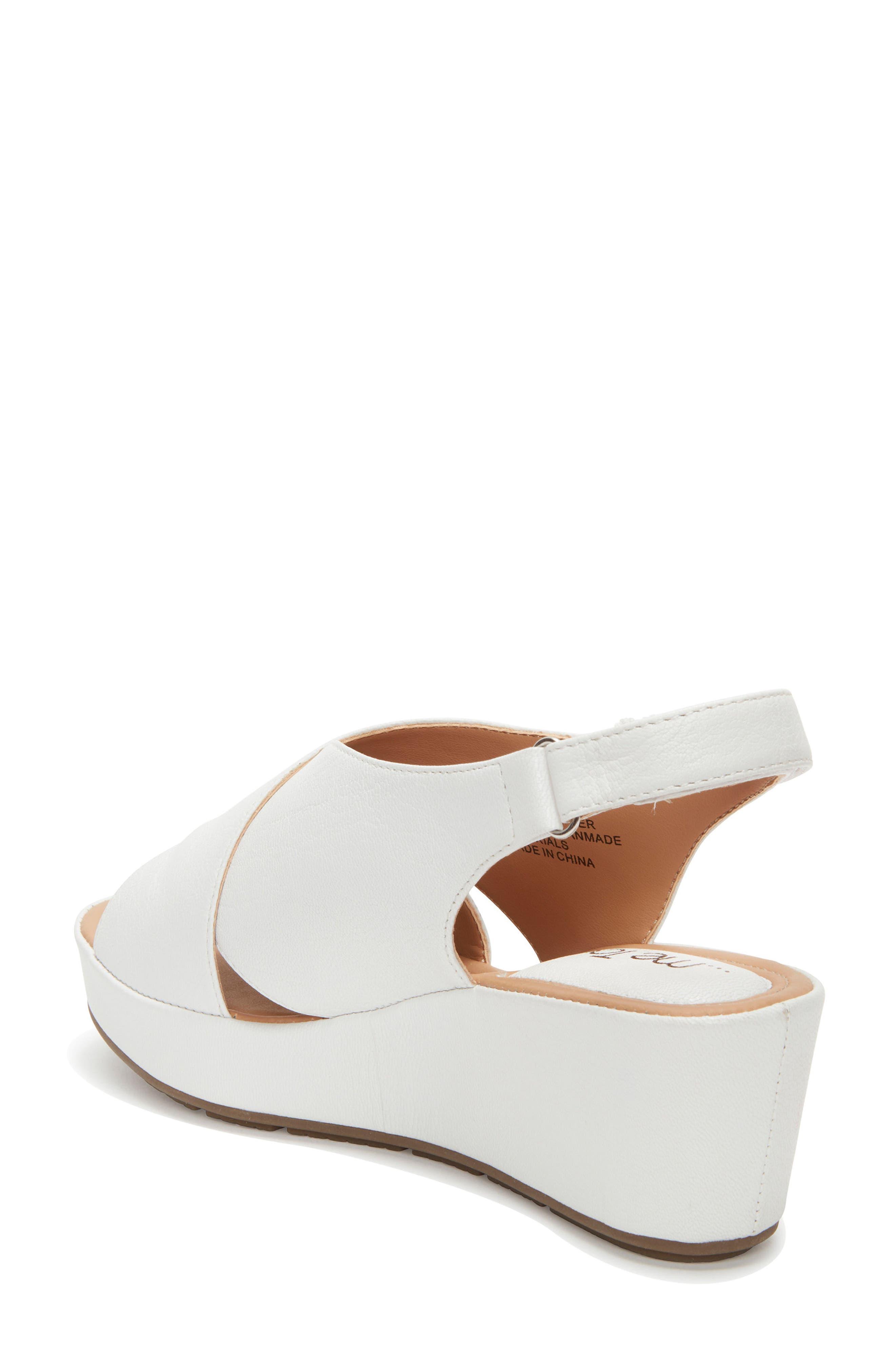 Arena Wedge Sandal,                             Alternate thumbnail 2, color,                             White Leather