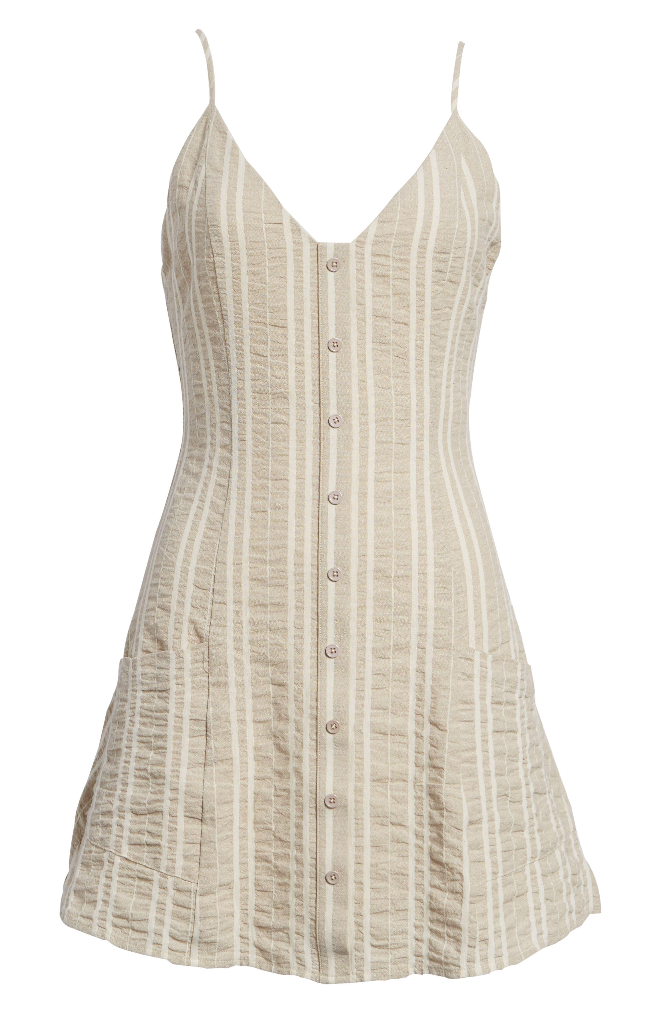 Stella Stripe Dress,                             Alternate thumbnail 7, color,                             Cream