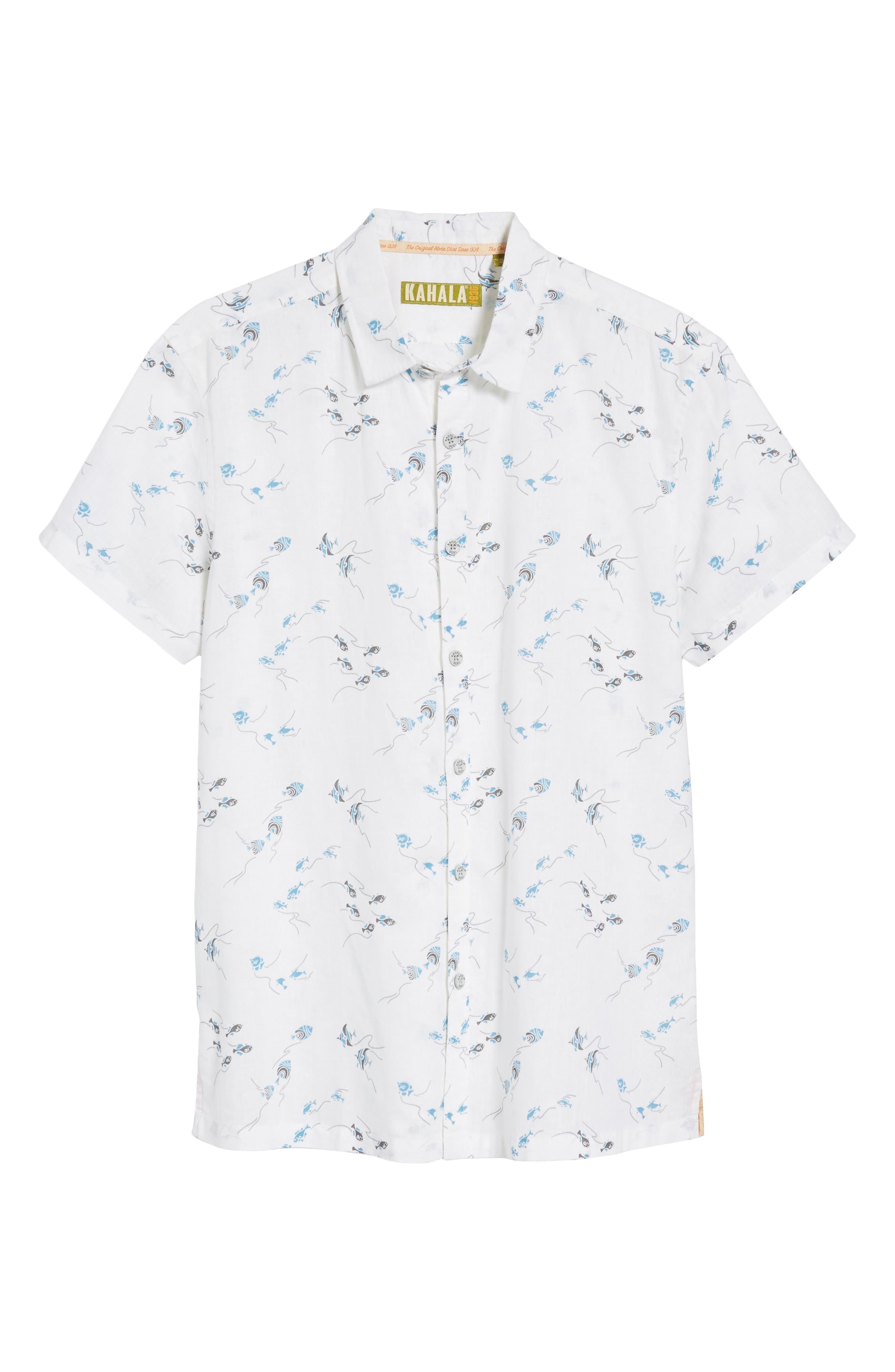Swim School Standard Fit Linen Blend Camp Shirt,                             Alternate thumbnail 6, color,                             White