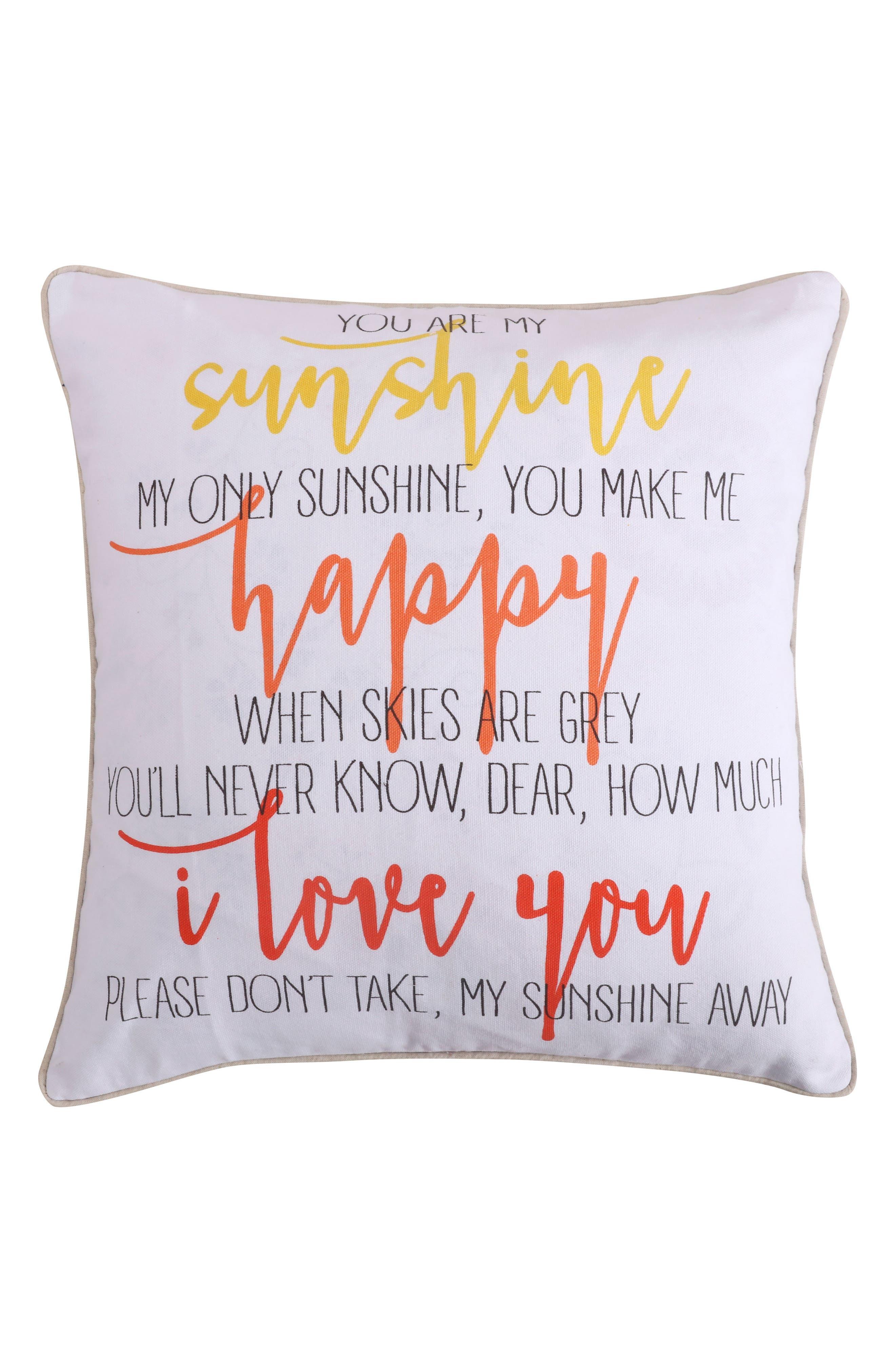 Lori Sunshine Happy Accent Pillow,                             Main thumbnail 1, color,                             Coral