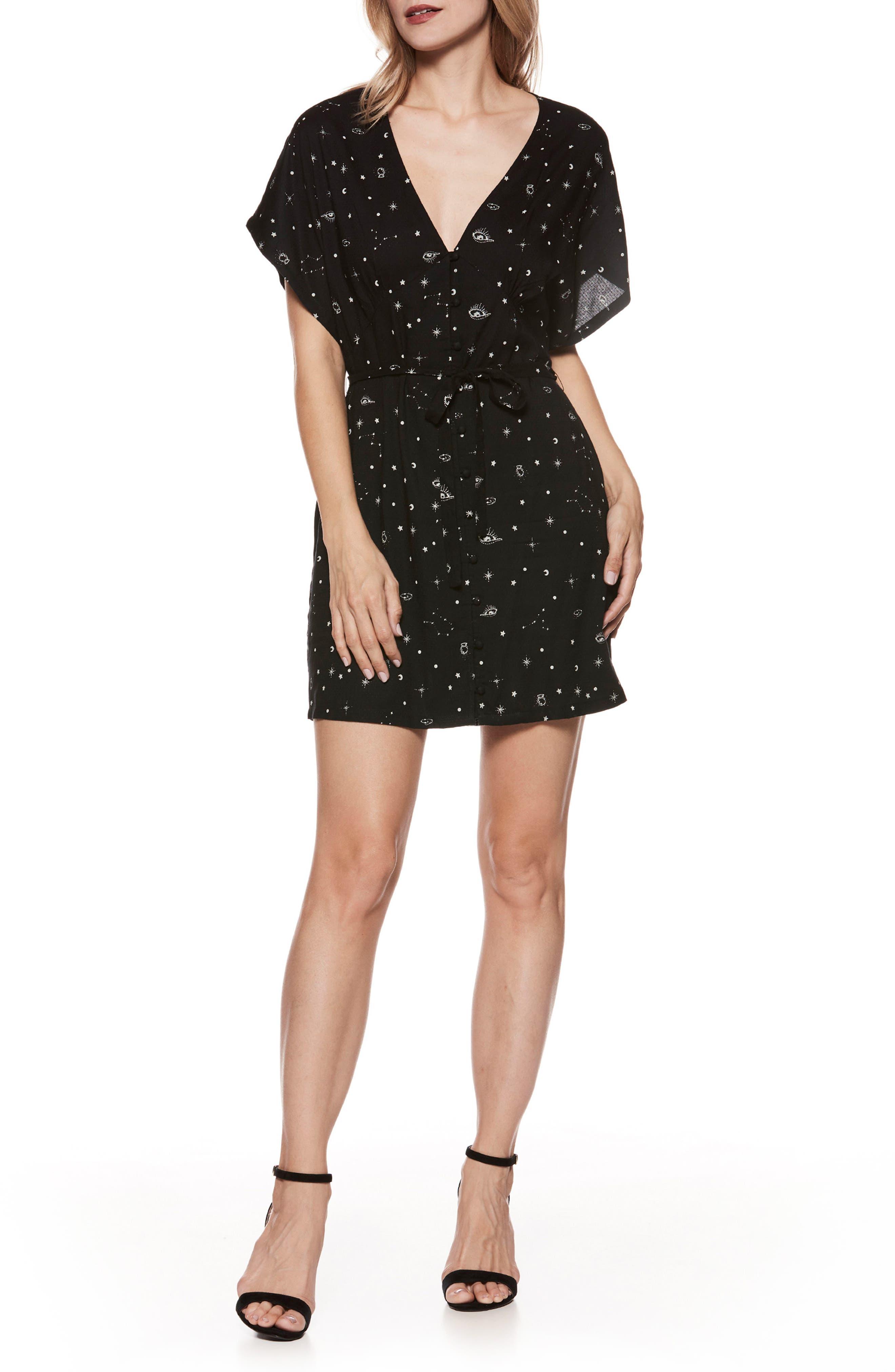 Cherelle Print Minidress,                         Main,                         color, Black/ Sandy Shell