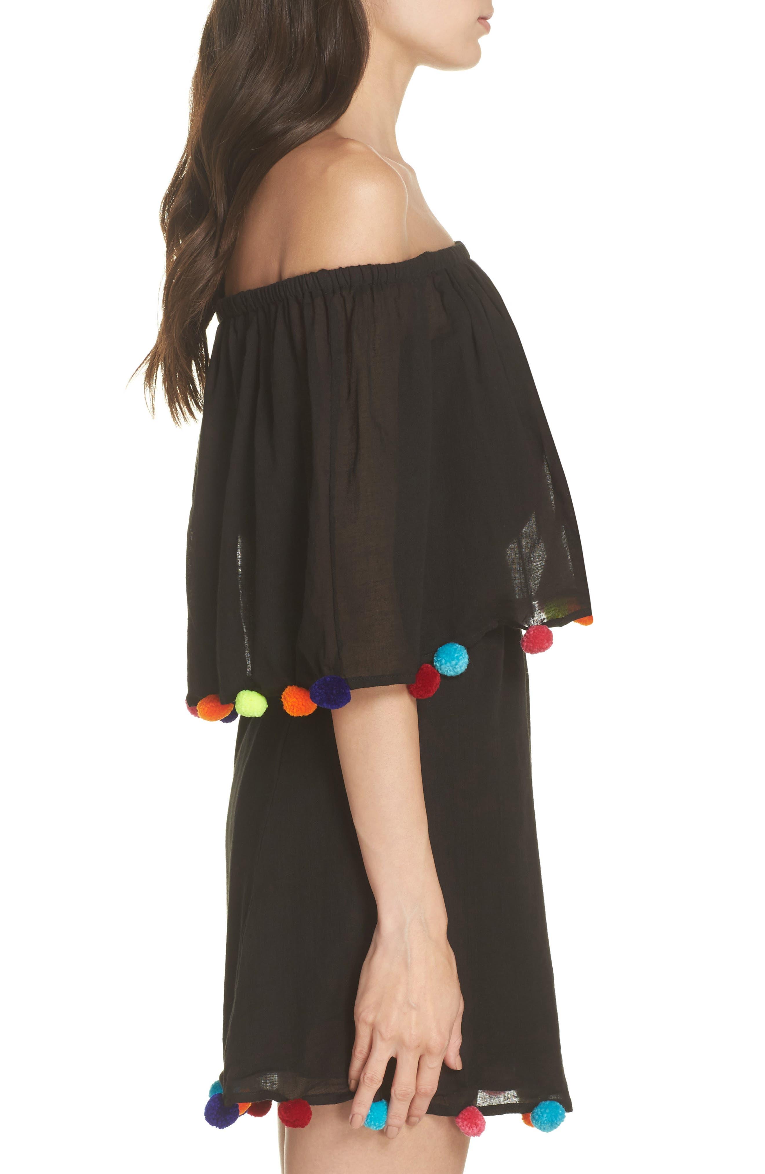 PomPom Festival Cover-Up Dress,                             Alternate thumbnail 3, color,                             Black