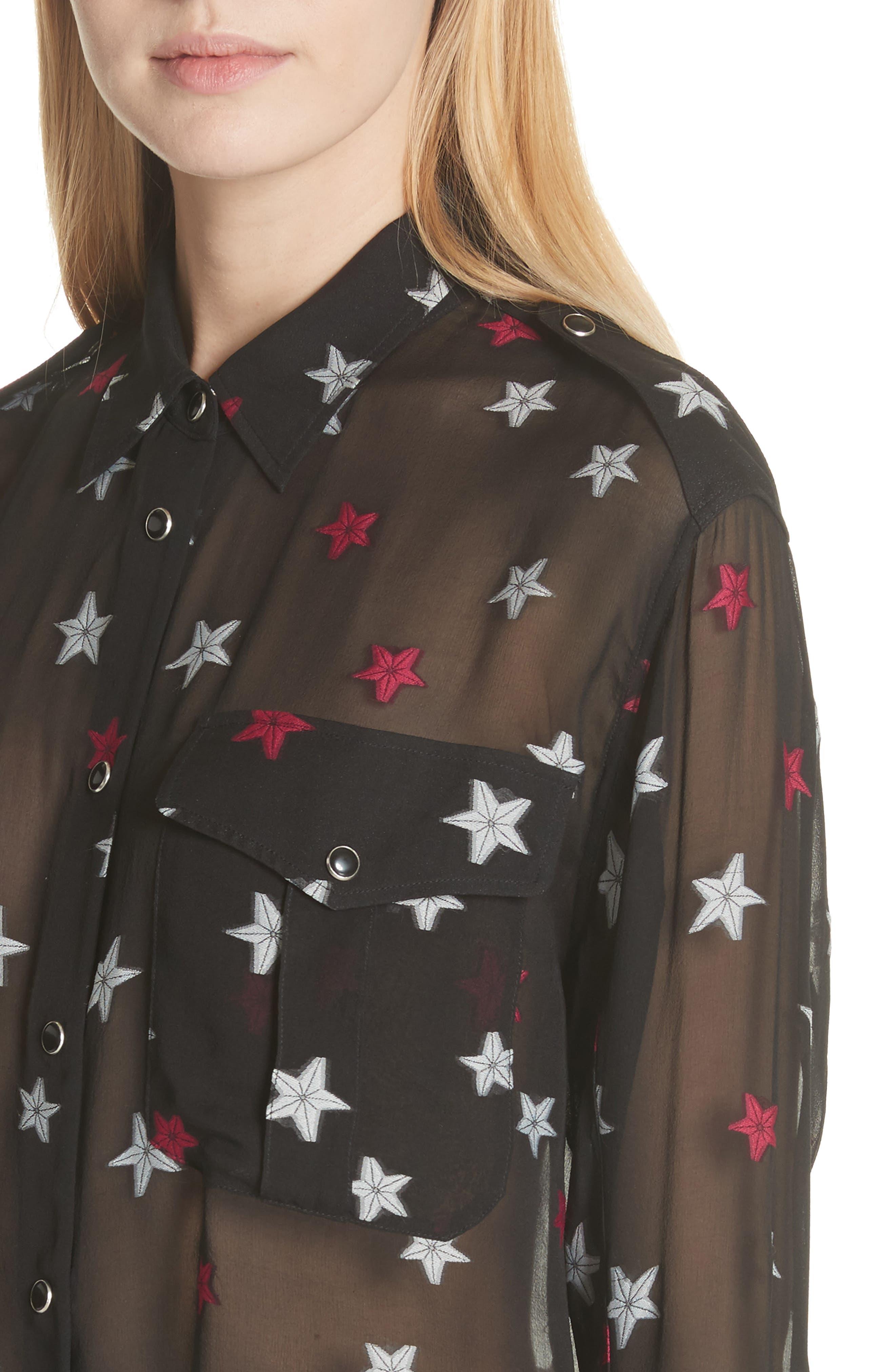 Pearson Star Print Silk Blend Shirt,                             Alternate thumbnail 5, color,                             Black Multi