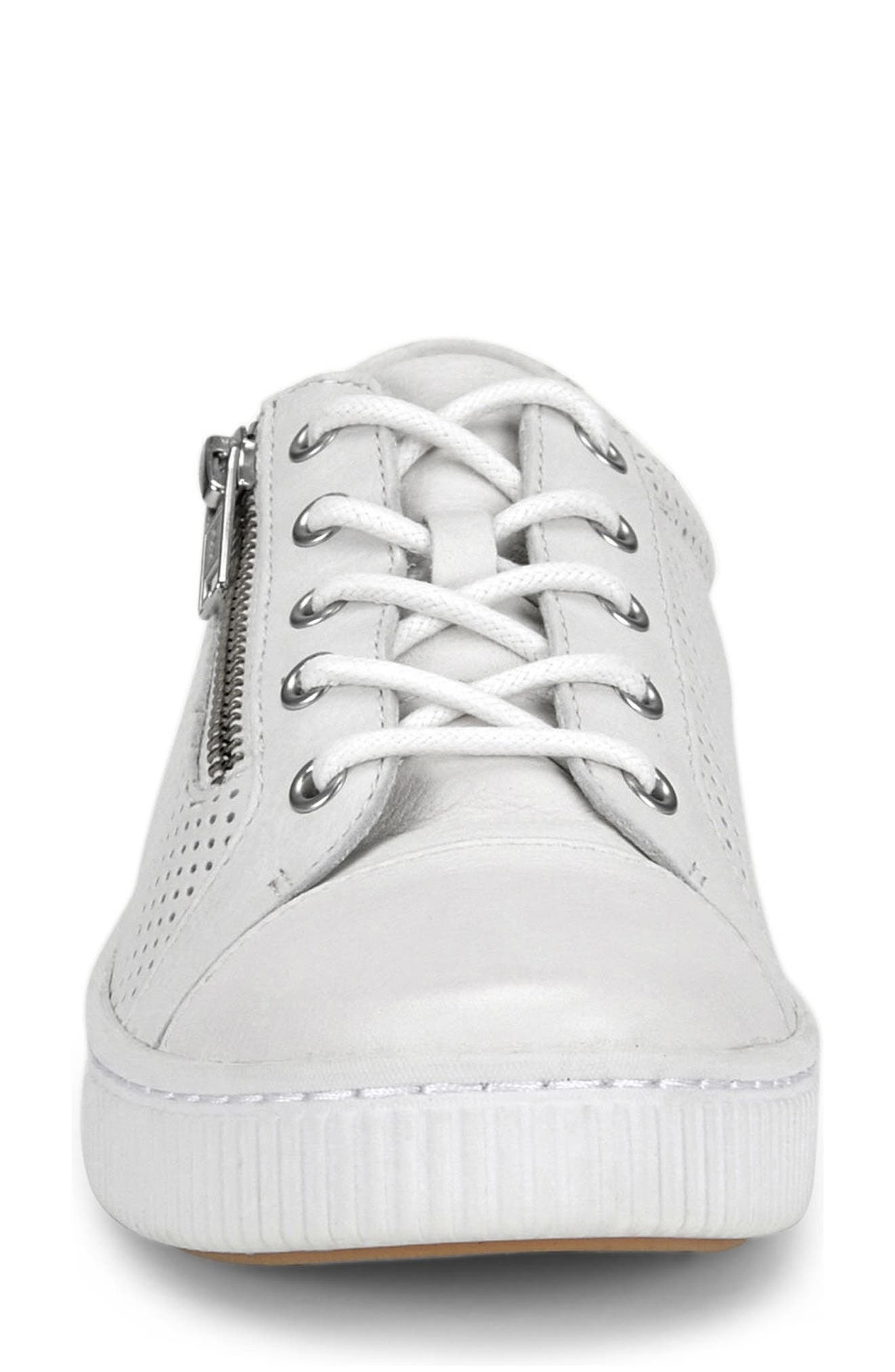 Tamara Perforated Sneaker,                             Alternate thumbnail 4, color,                             White Leather