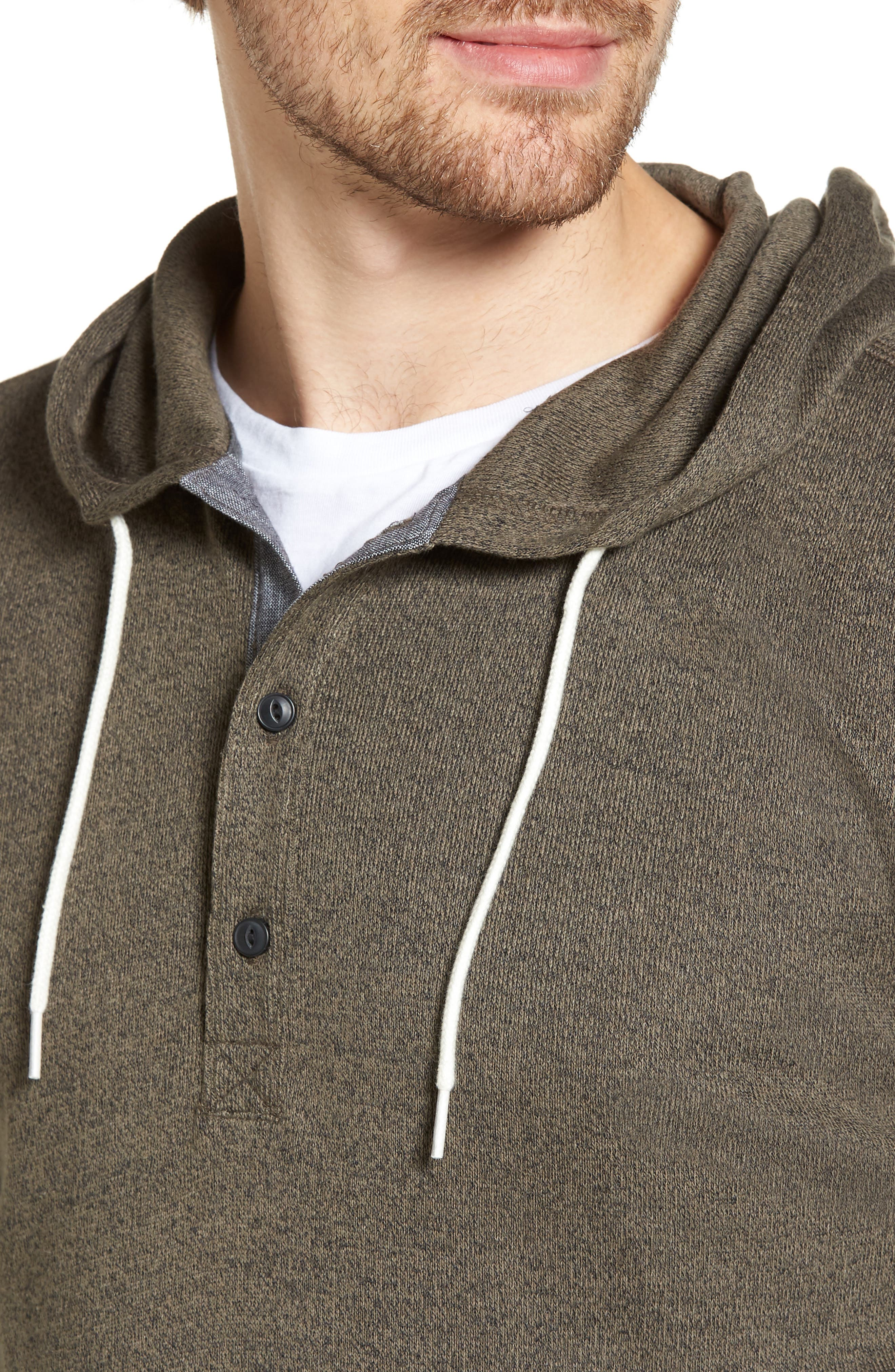 Knit Hooded Pullover,                             Alternate thumbnail 4, color,                             Olive Tarmac Heather