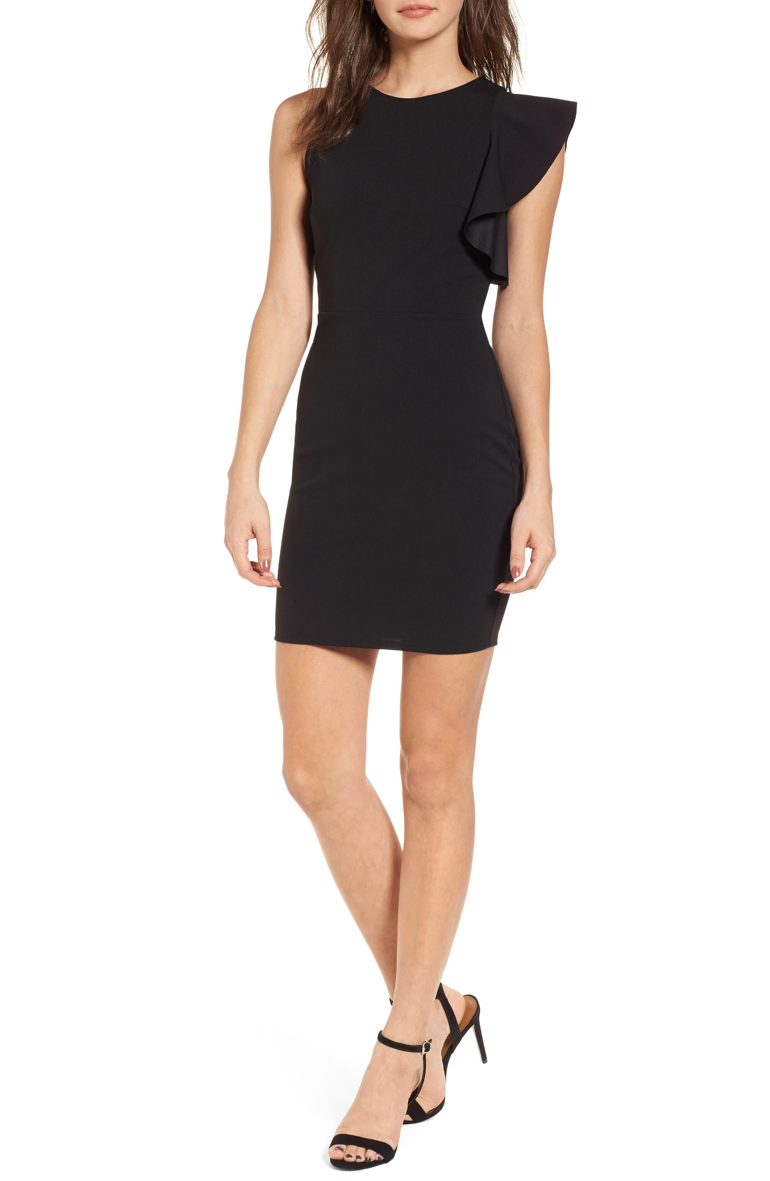 Ruffle Sleeve Body-Con Dress,                         Main,                         color, Black