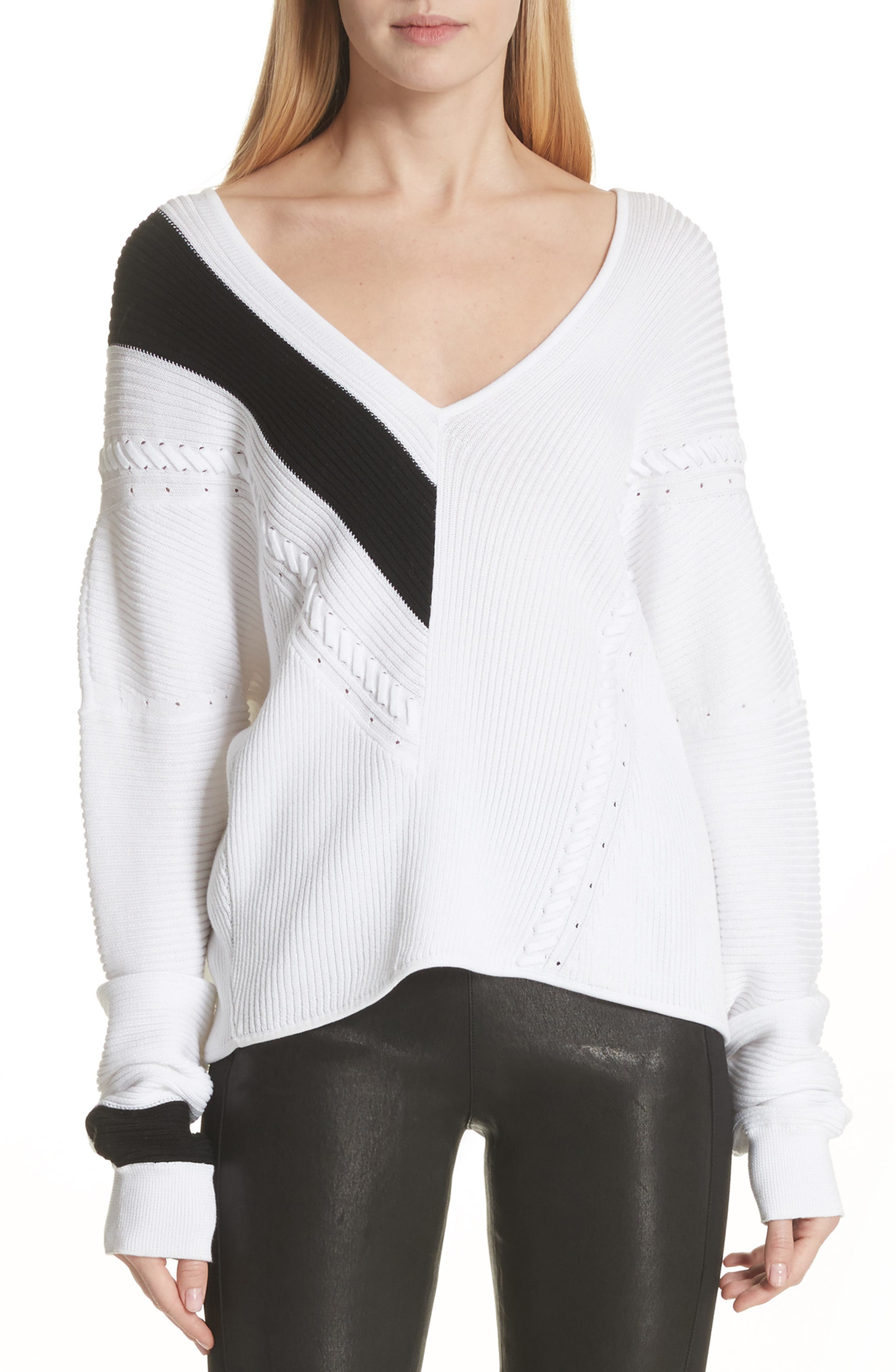 Cricket V-Neck Sweater,                             Main thumbnail 1, color,                             White