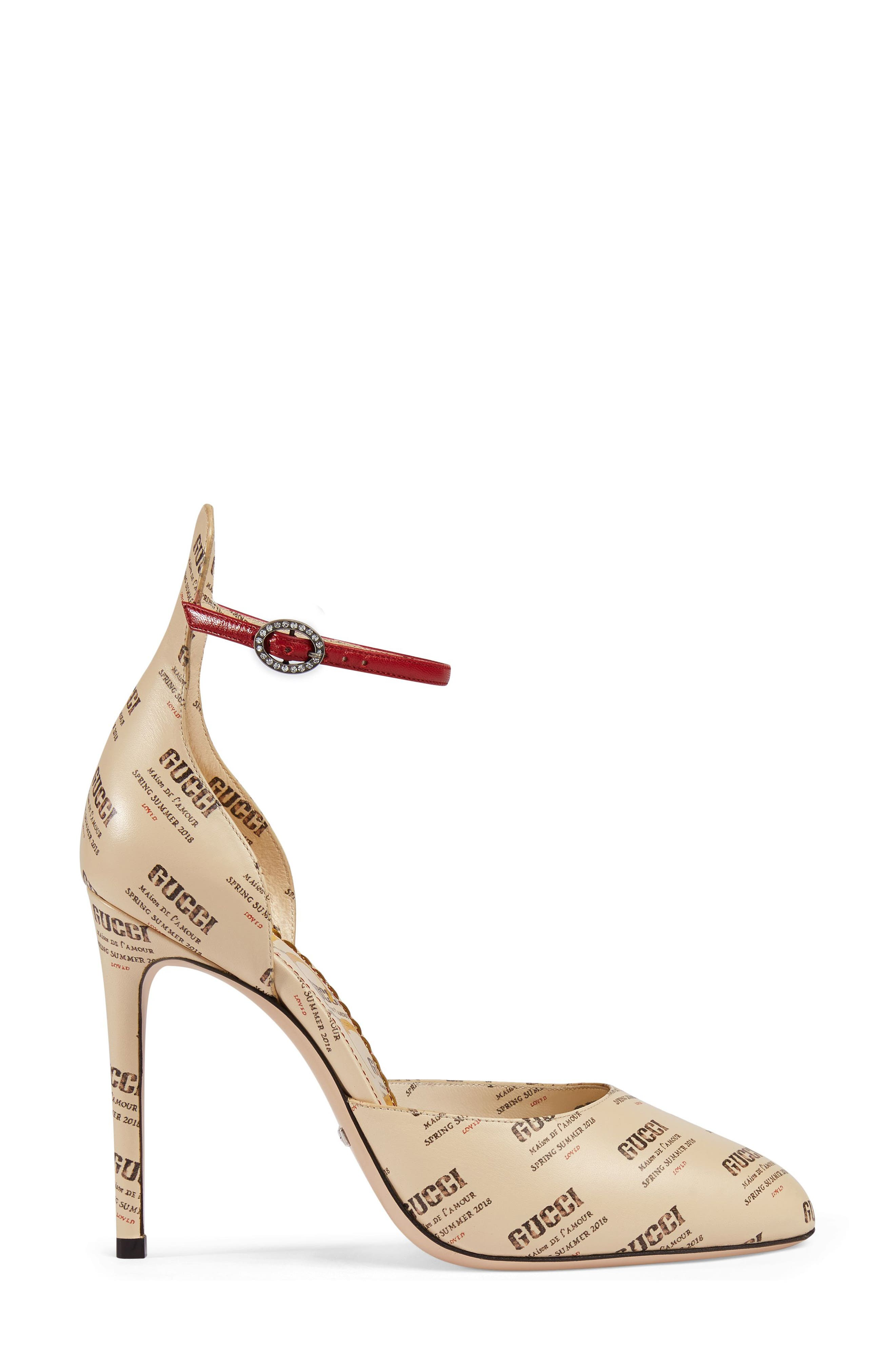 Daisy Ankle Strap Pump,                             Alternate thumbnail 2, color,                             Ivory