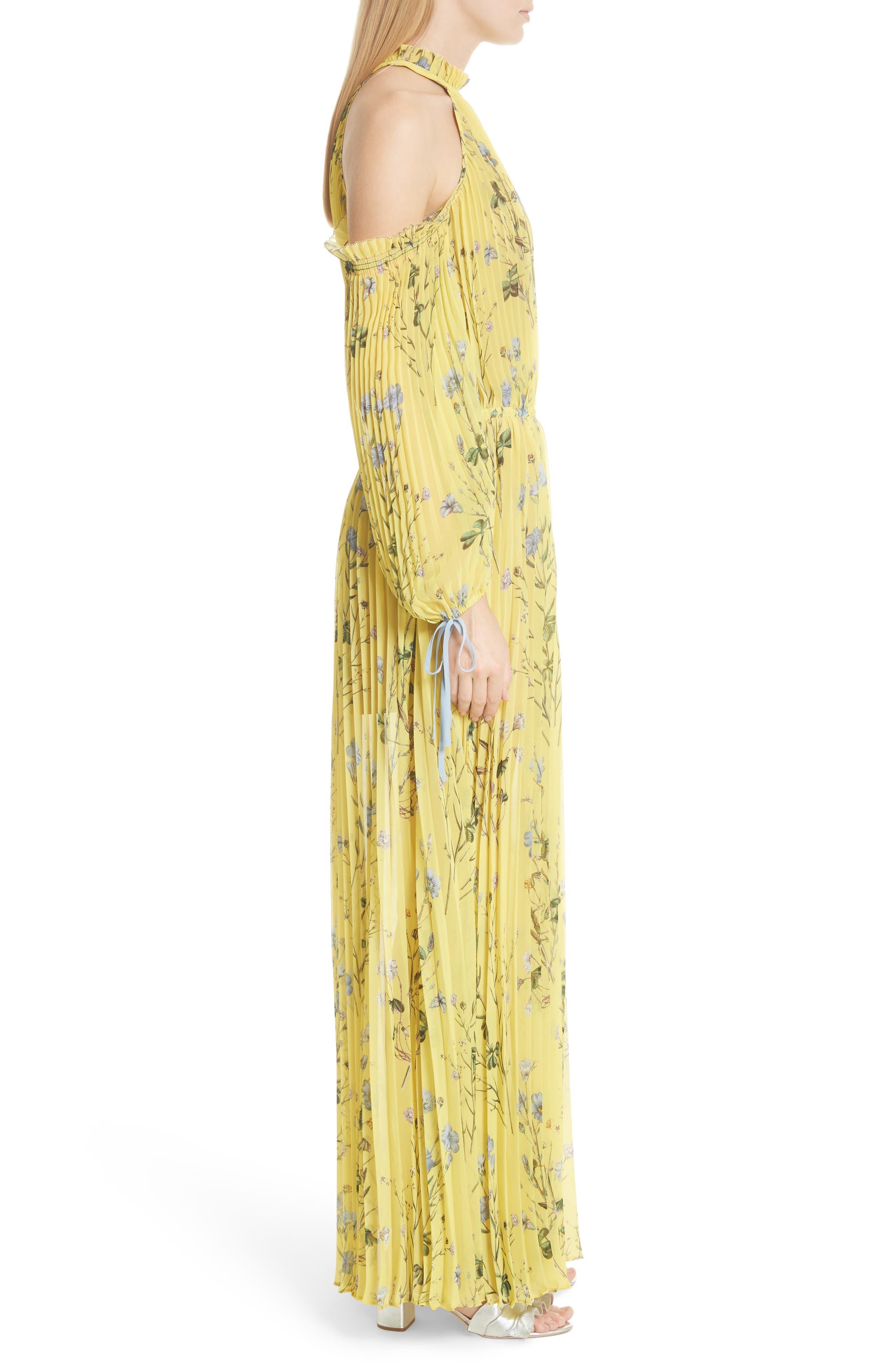 Alternate Image 3  - Self-Portrait Floral Pleated Cold Shoulder Maxi Dress