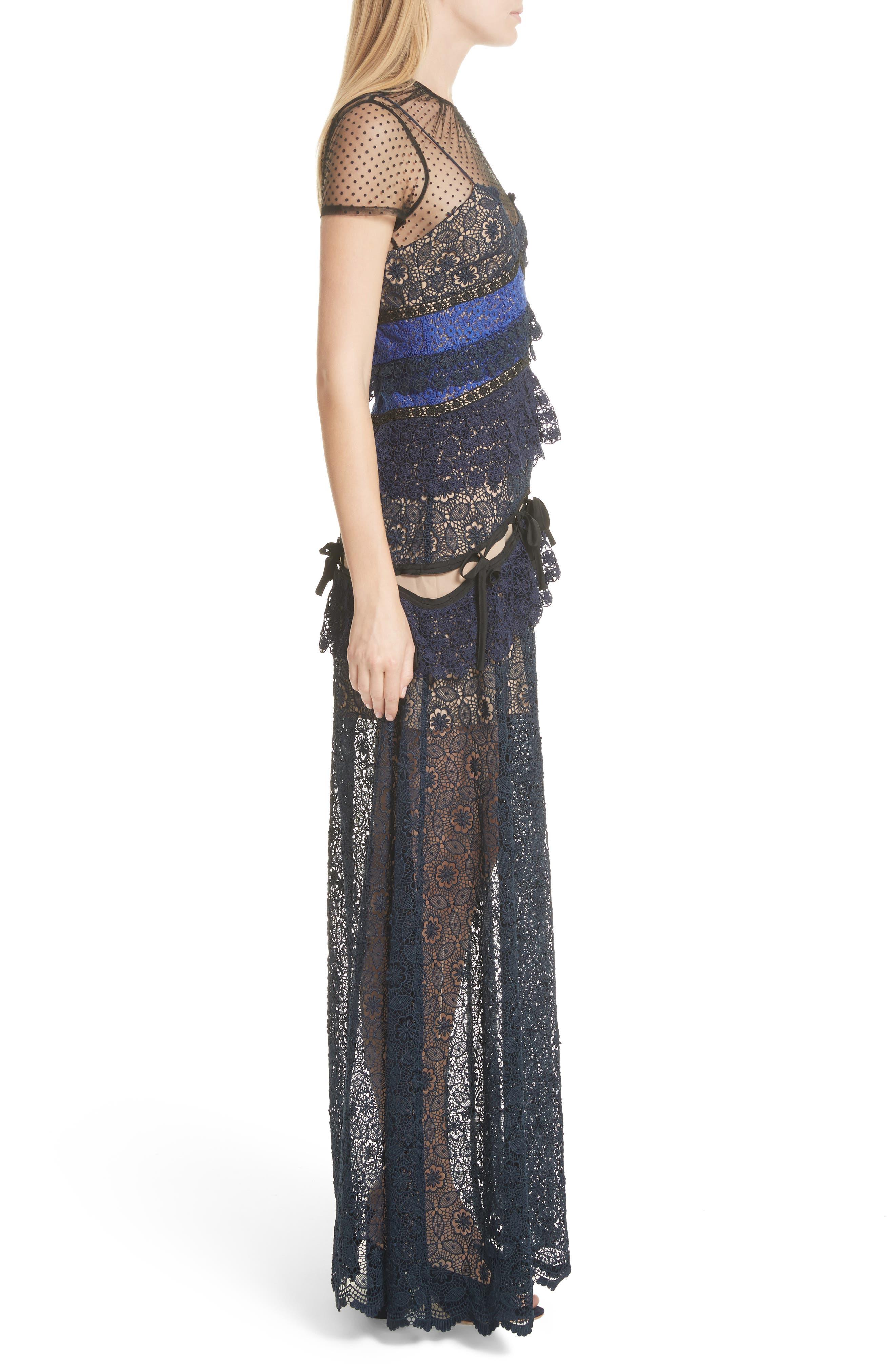 Paneled Lace Maxi Dress,                             Alternate thumbnail 3, color,                             Navy