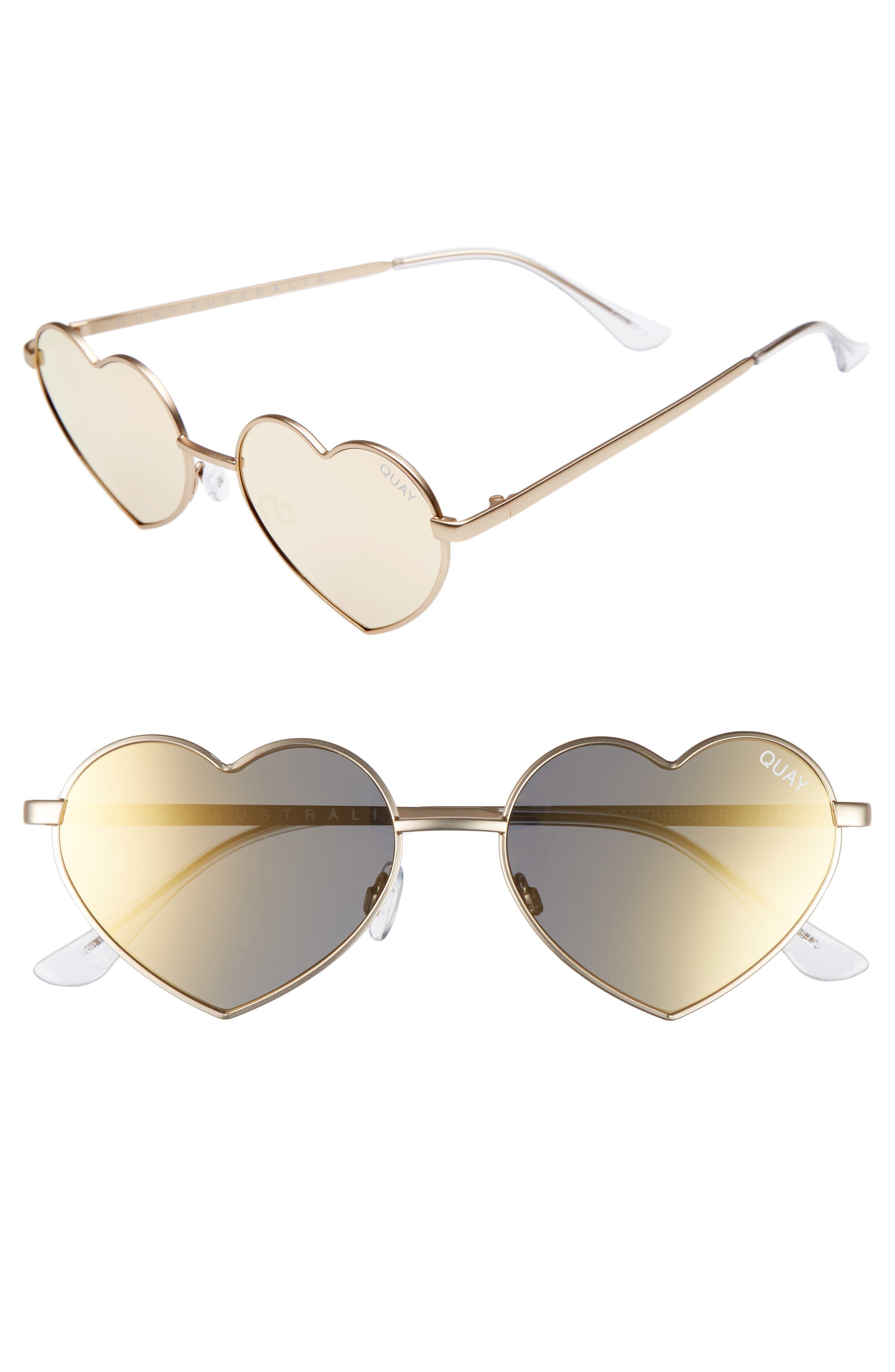 53mm Heart Breaker Heart-Shaped Sunglasses,                             Main thumbnail 1, color,                             Gold/ Gold