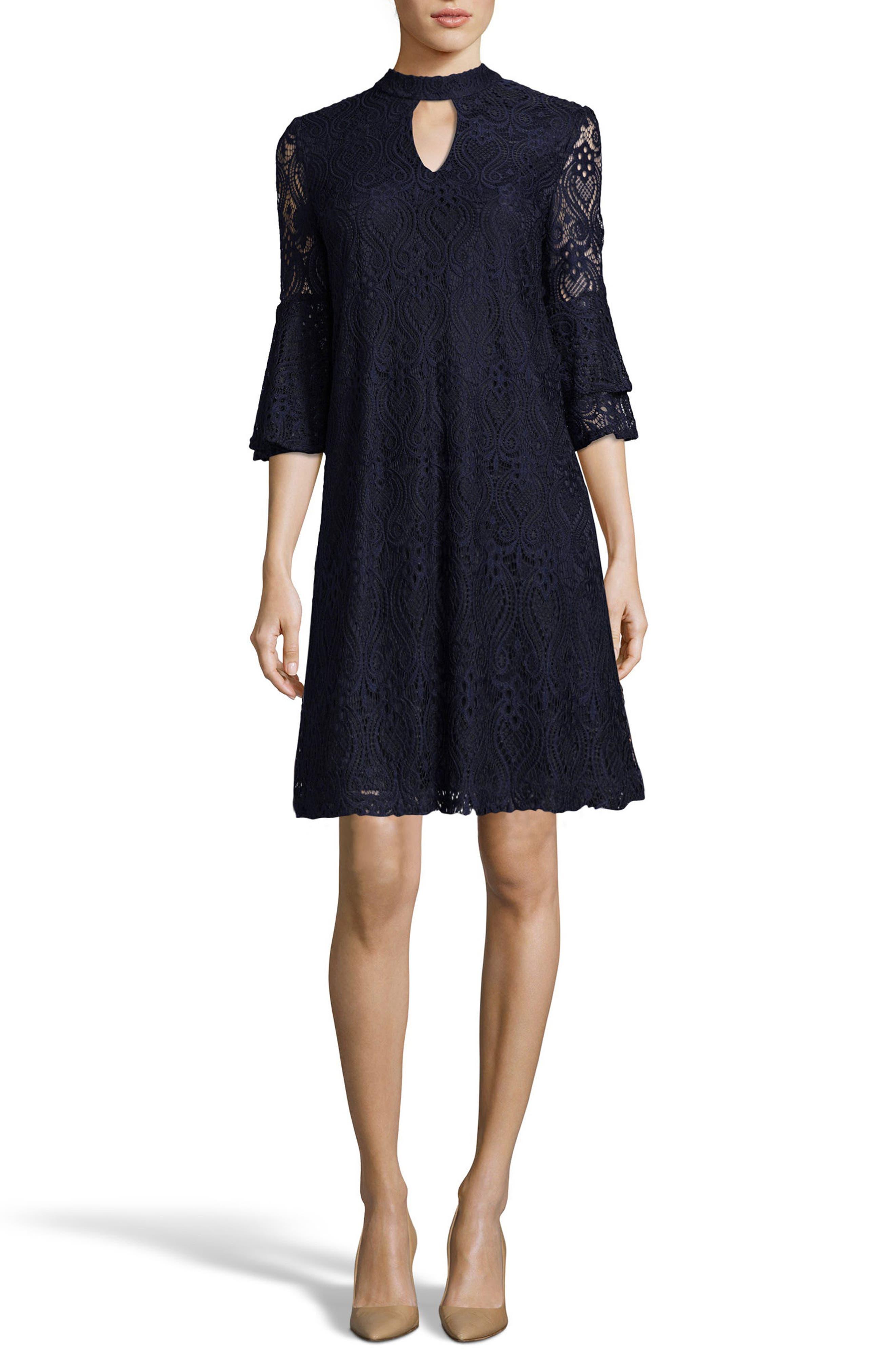 Lace Trapeze Dress,                         Main,                         color, Navy