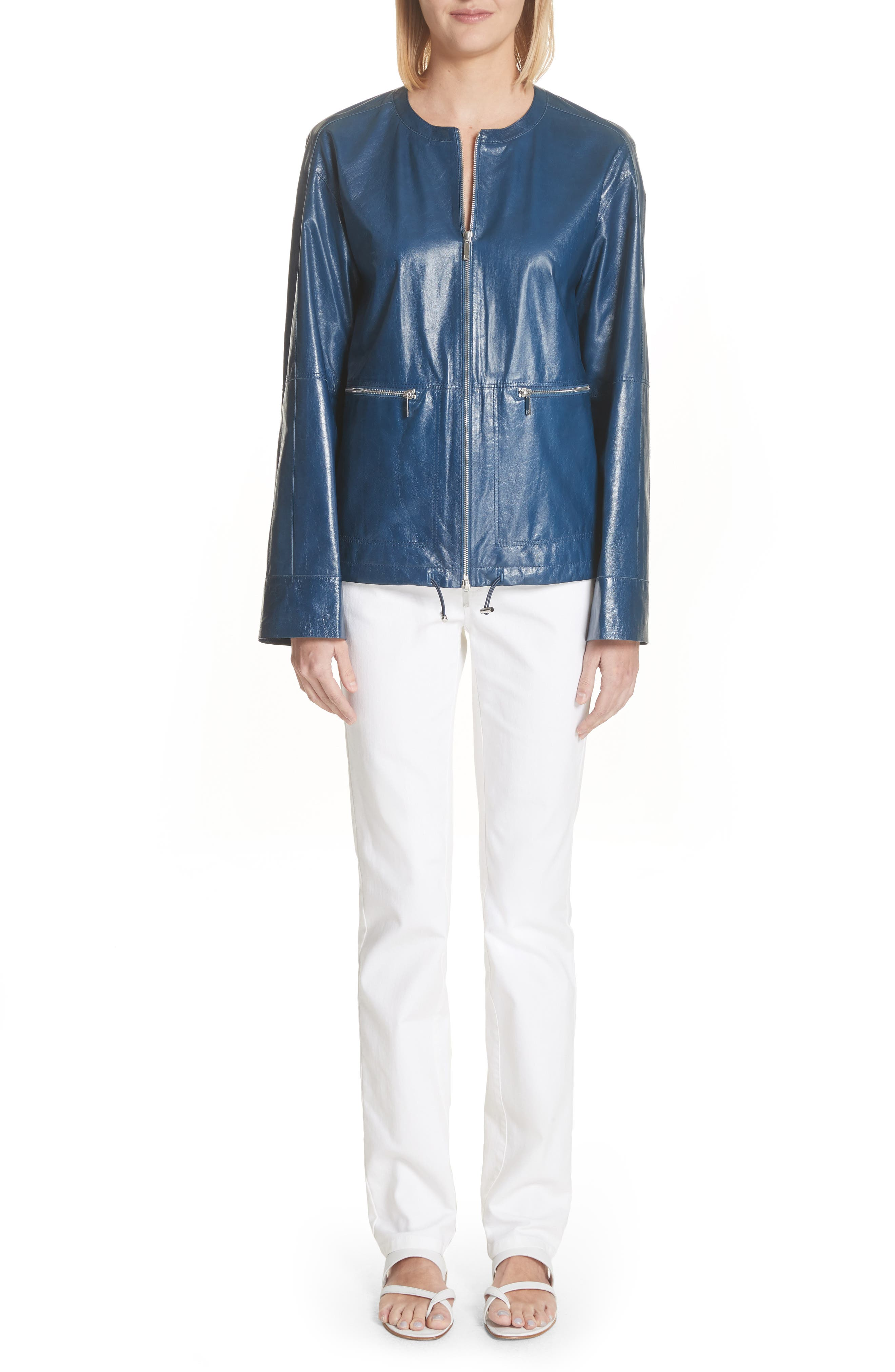 Fleming Leather Jacket,                             Alternate thumbnail 8, color,                             Majolica Blue