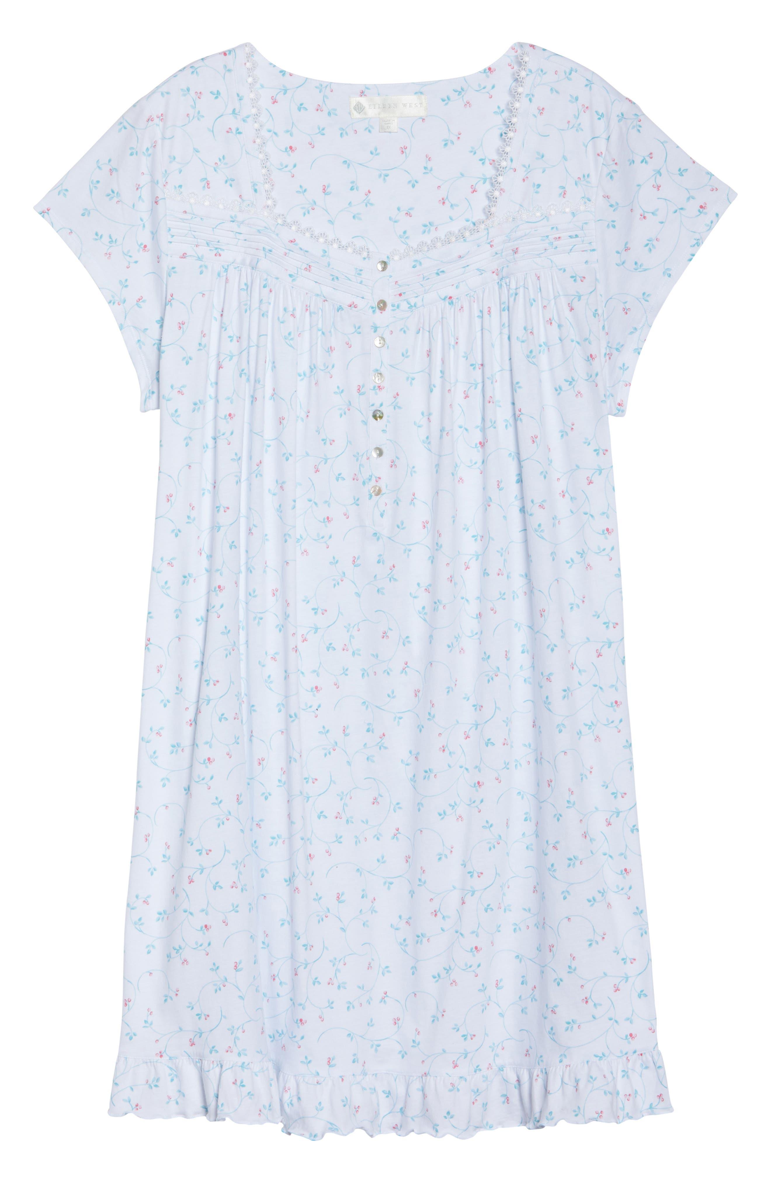 Cotton Jersey Short Nightgown,                             Alternate thumbnail 4, color,                             White Aqua/ Pink Berries