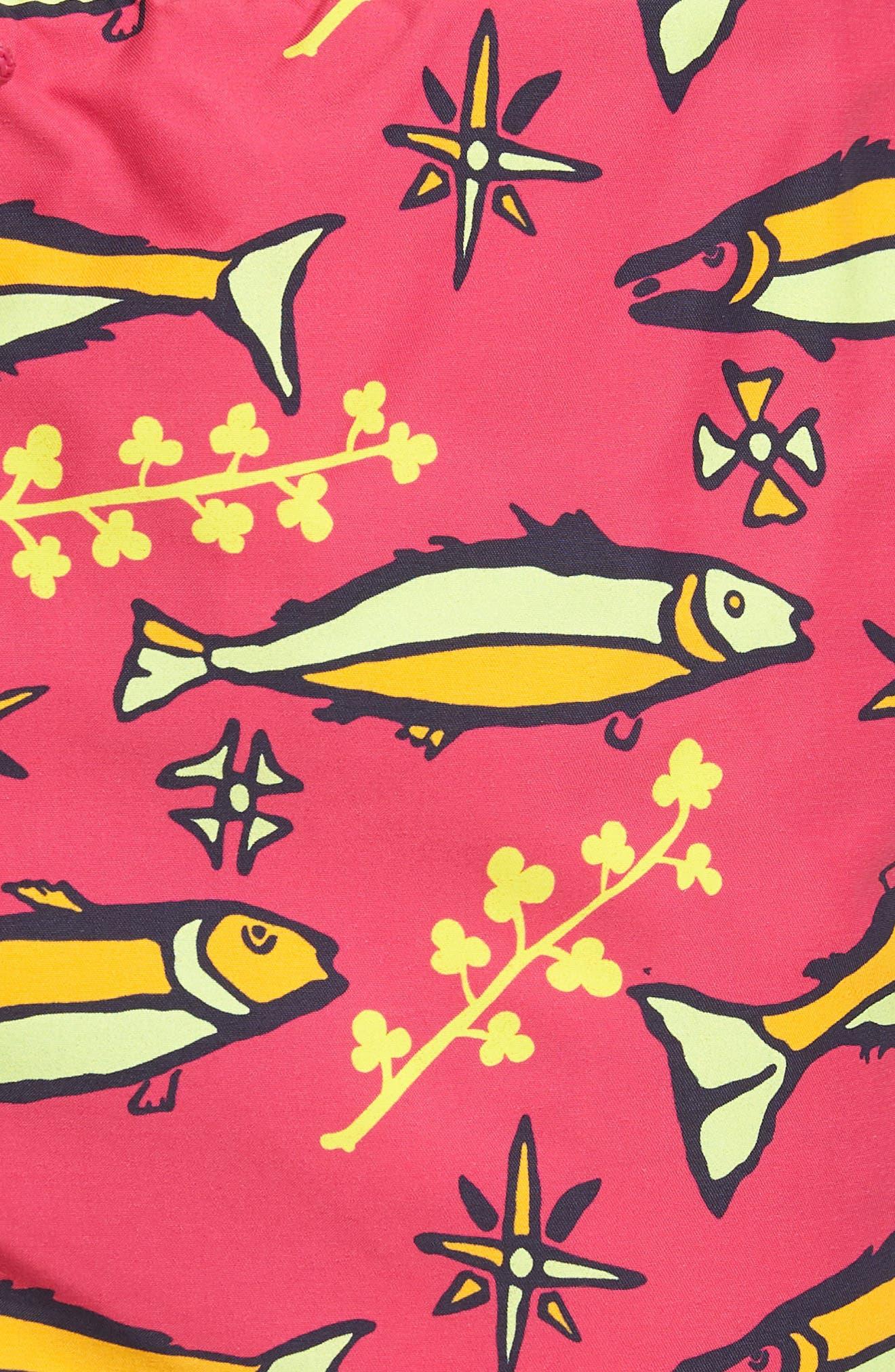 Sardines A Lhuile Print Swim Trunks,                             Alternate thumbnail 5, color,                             Shocking Pink