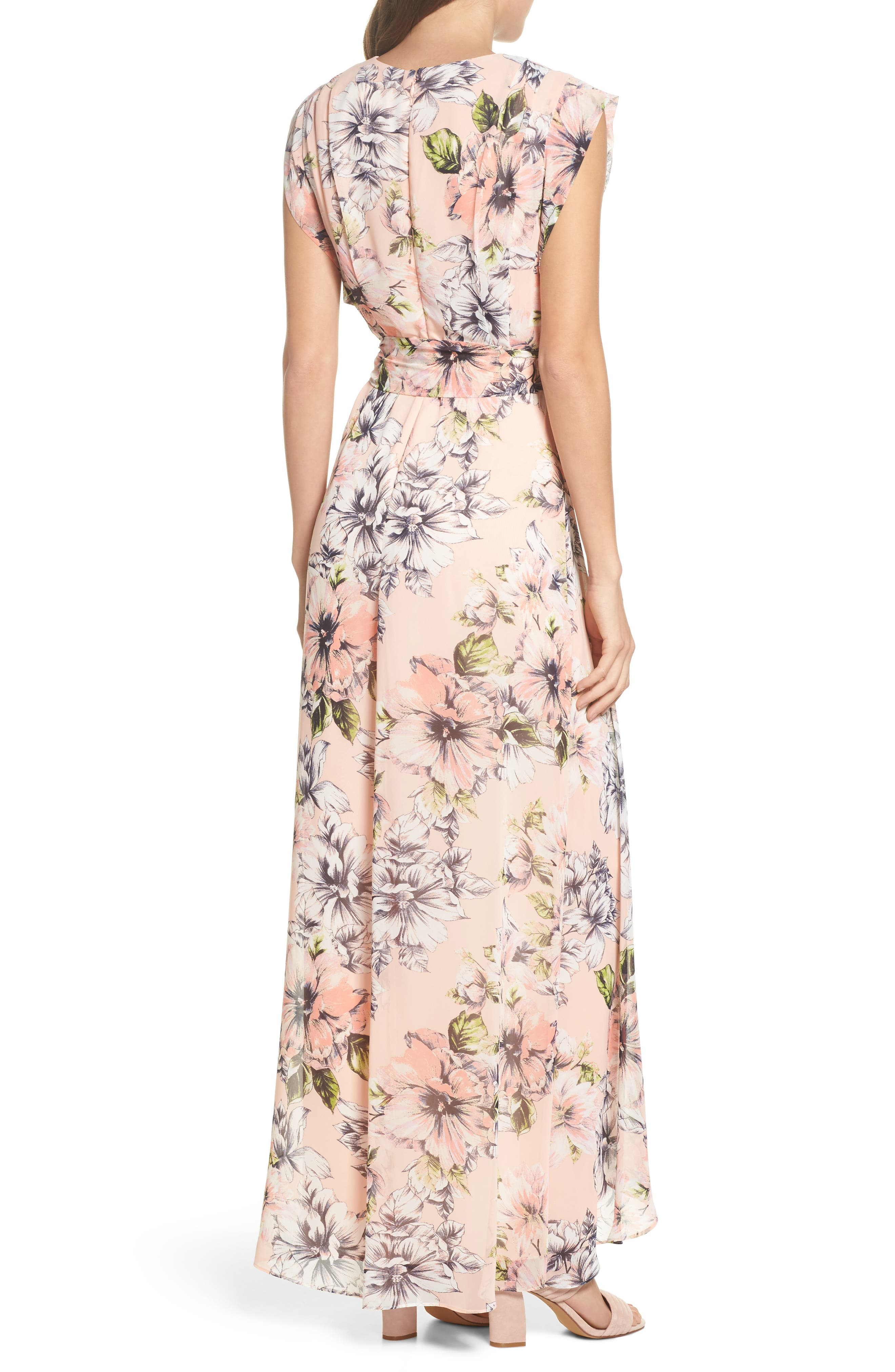 Floral Ruffle High/Low Maxi Dress,                             Alternate thumbnail 2, color,                             Blush