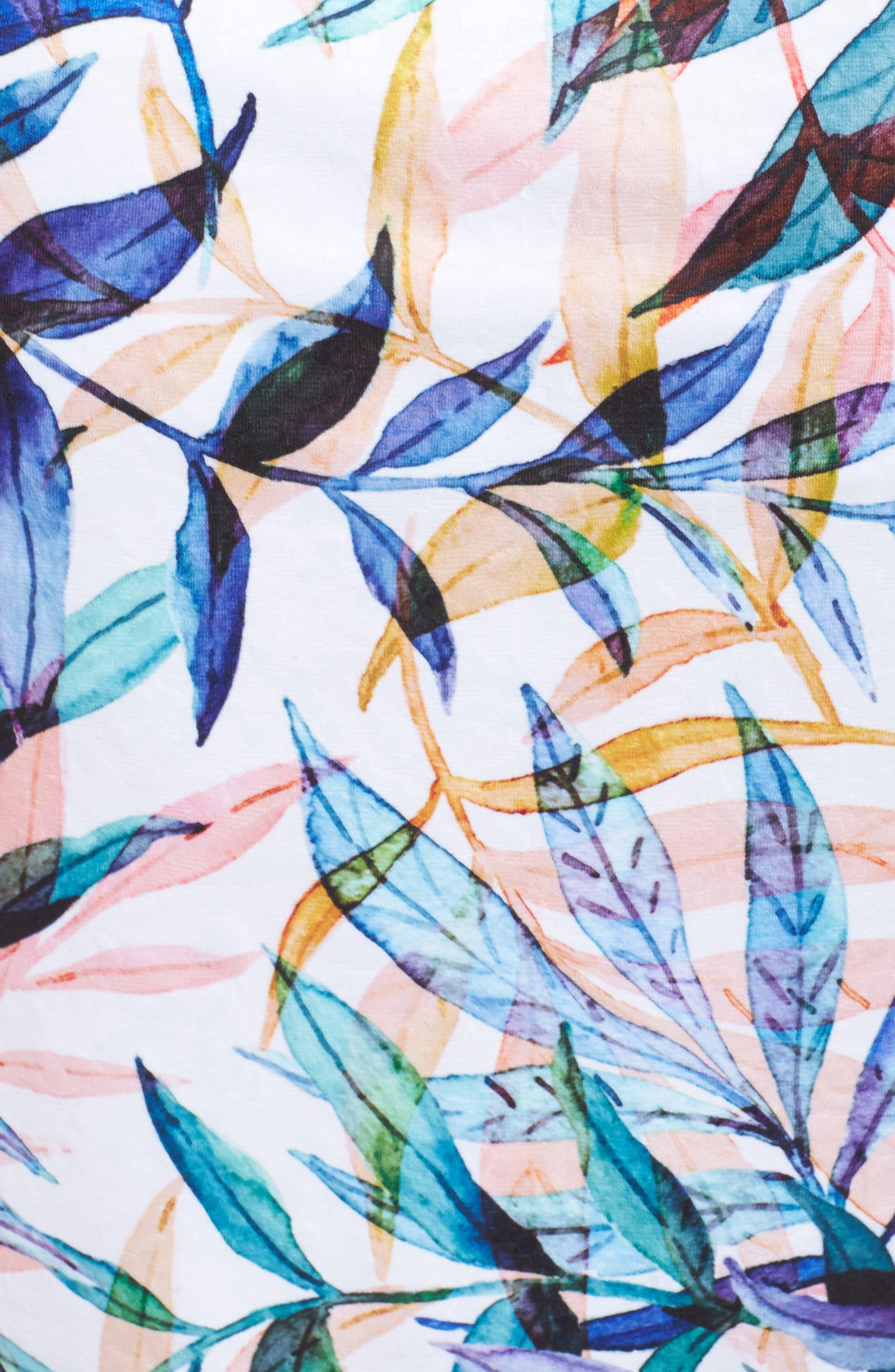 Watercolor Leaves Sheath Dress,                             Alternate thumbnail 5, color,                             Ivory Multi