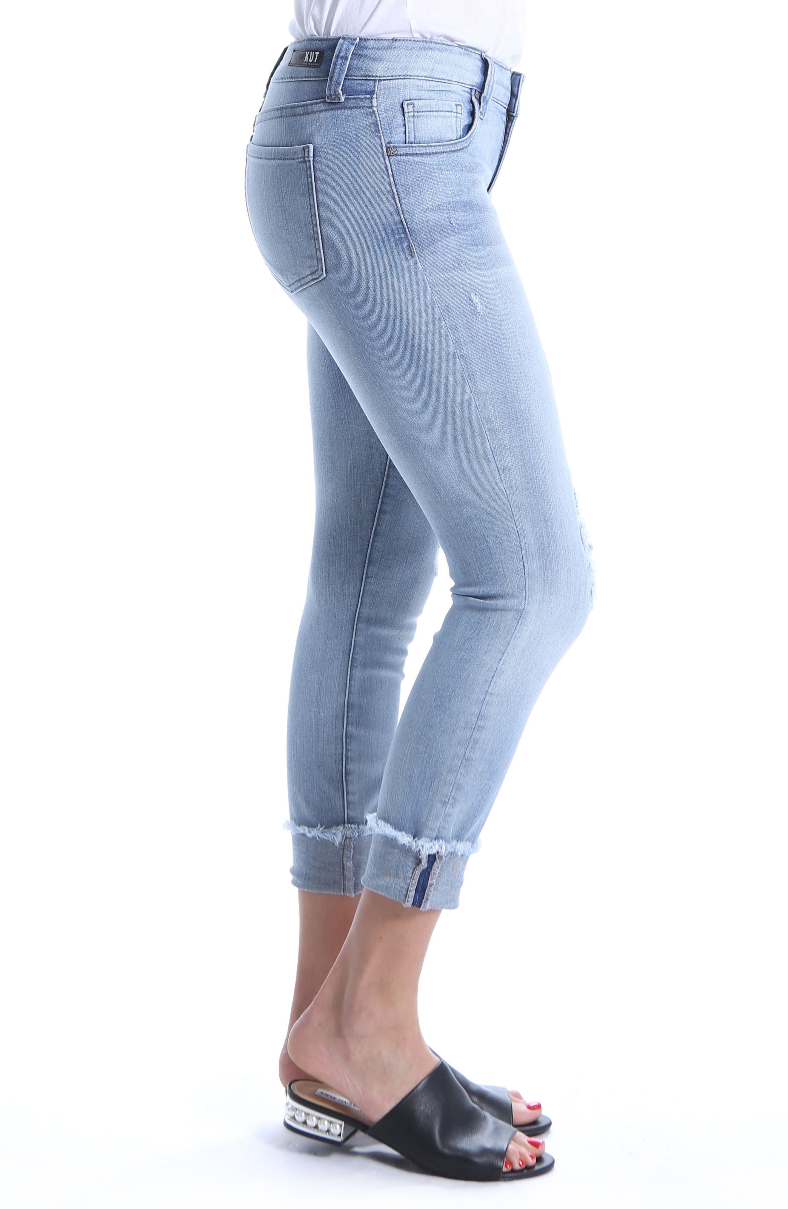 Connie Distressed Frayed Hem Ankle Skinny Jeans,                             Alternate thumbnail 3, color,                             Esthetic