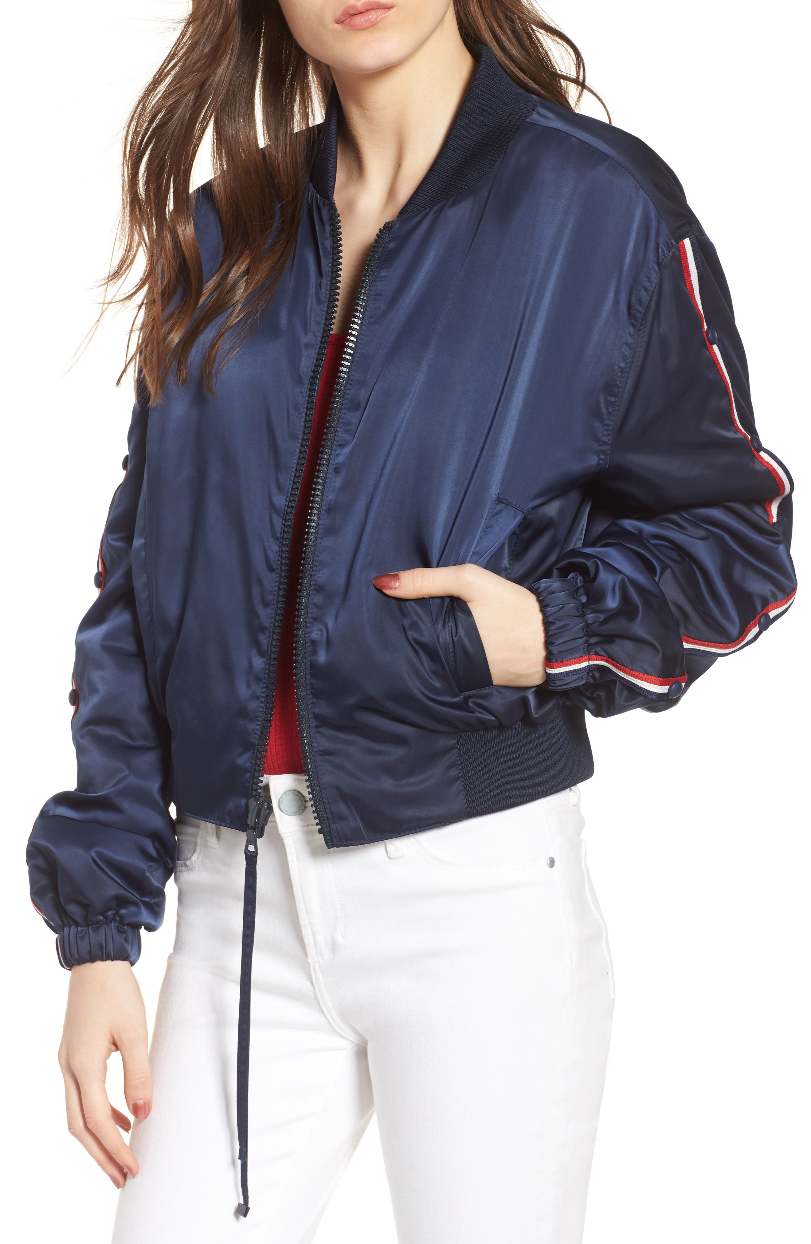 Bomber Jacket,                             Main thumbnail 1, color,                             Navy/ Red/ White