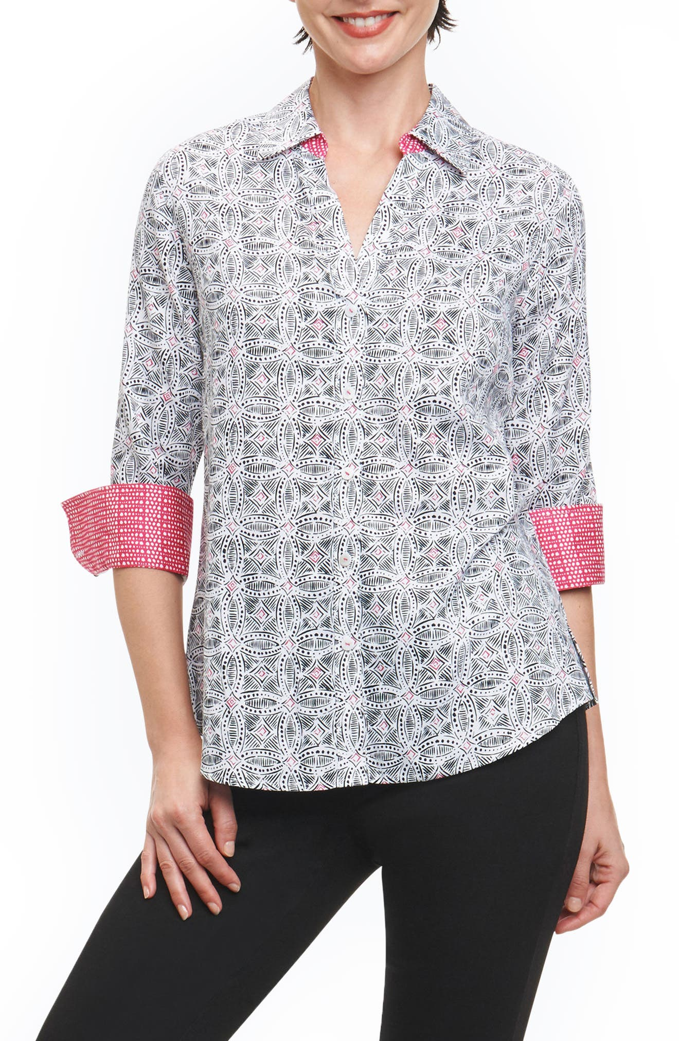 Mary Circle Tile Wrinkle Free Shirt,                         Main,                         color, Multi