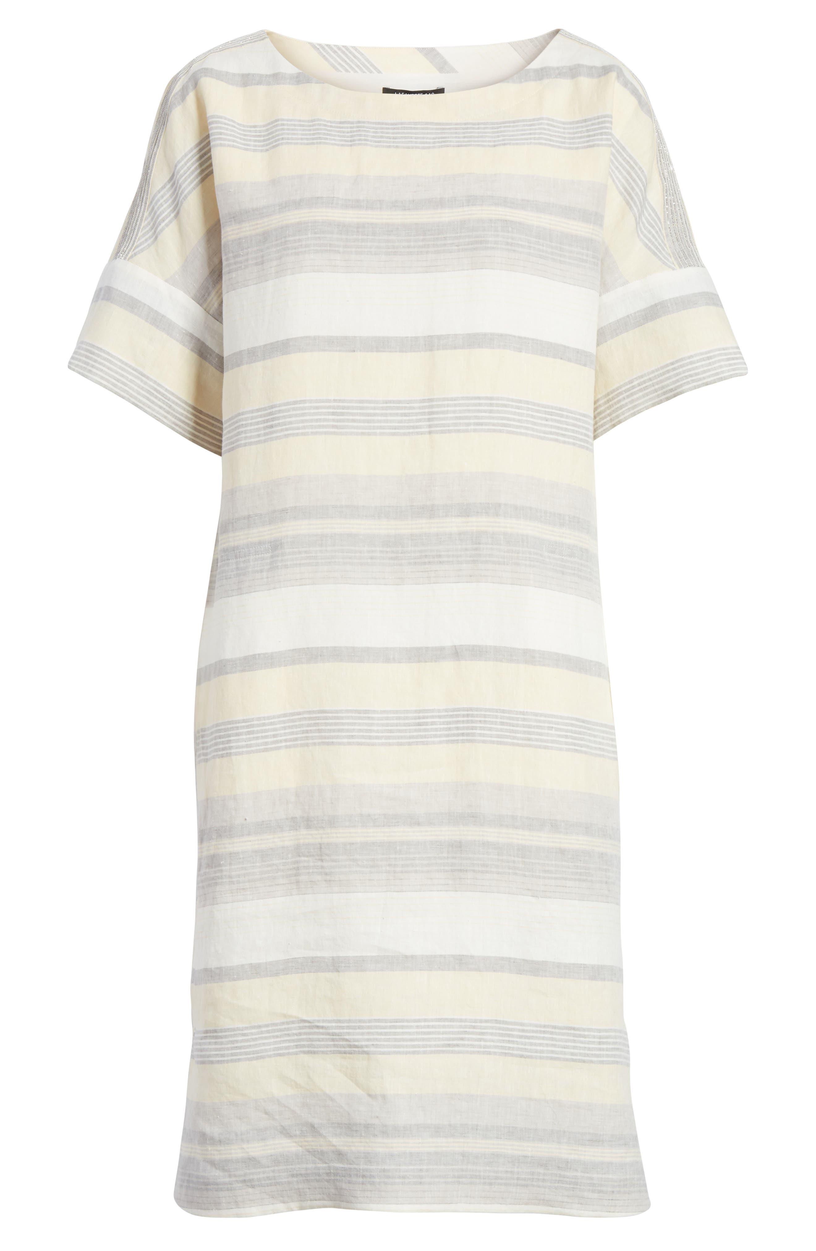 Lydia Stripe Linen Dress,                             Alternate thumbnail 7, color,                             Chickpea Multi