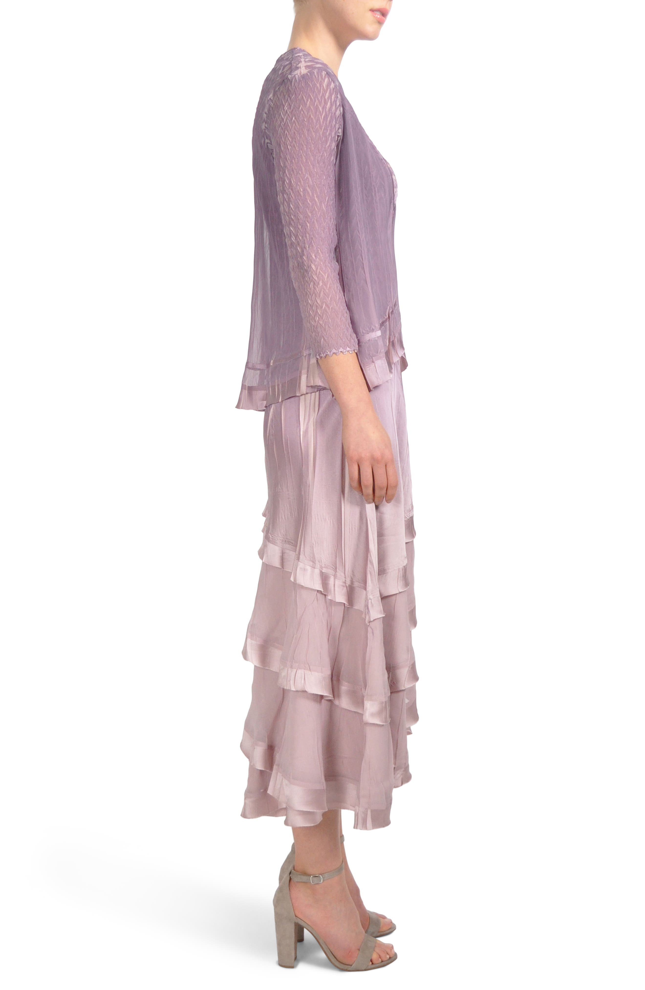 Tiered Hem Dress with Jacket,                             Alternate thumbnail 4, color,                             Lotus Orchid Ombre