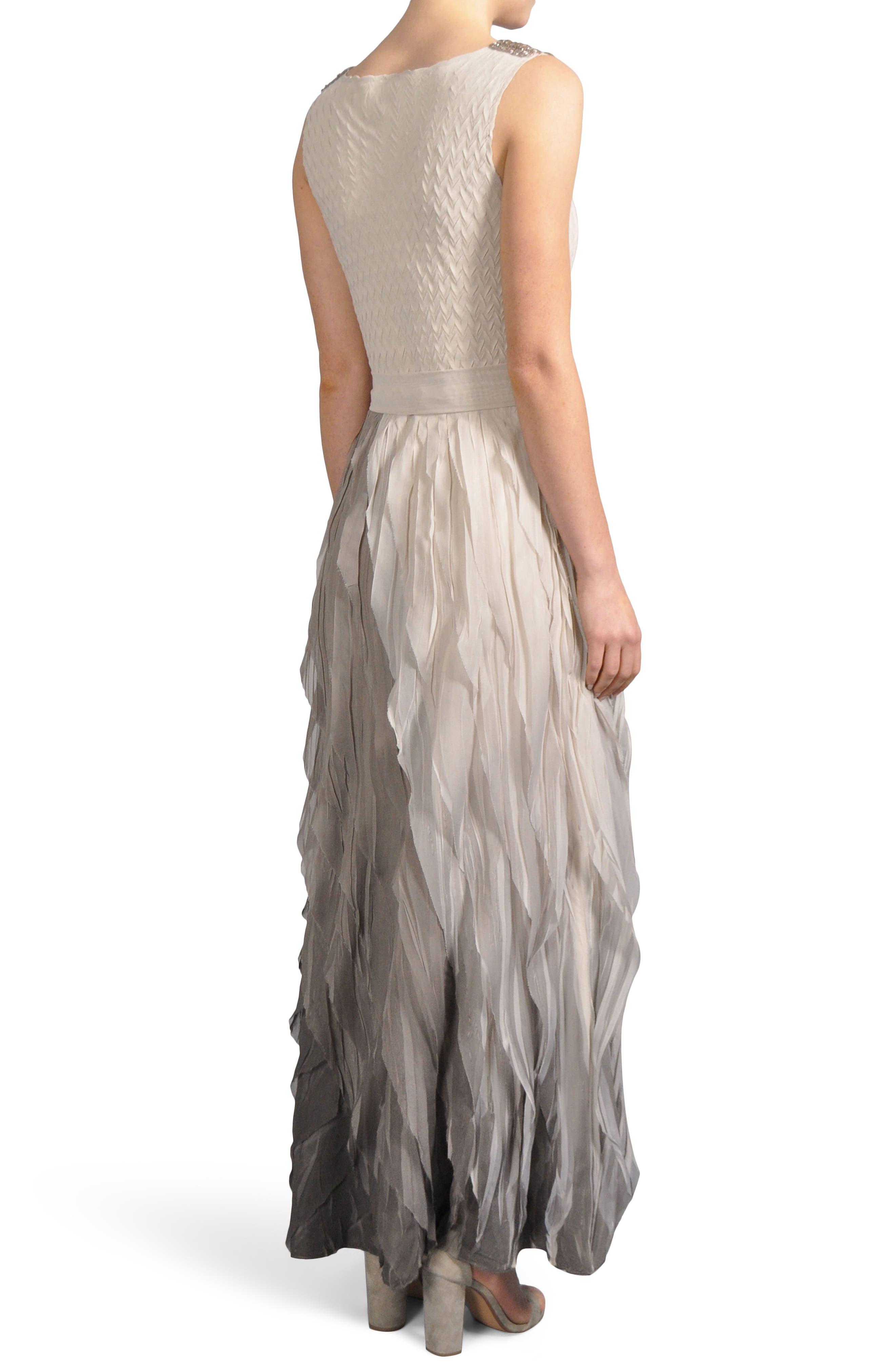 Ombré Cowl Neck Ruffle Gown,                             Alternate thumbnail 2, color,                             Neutral Smoke Ombre