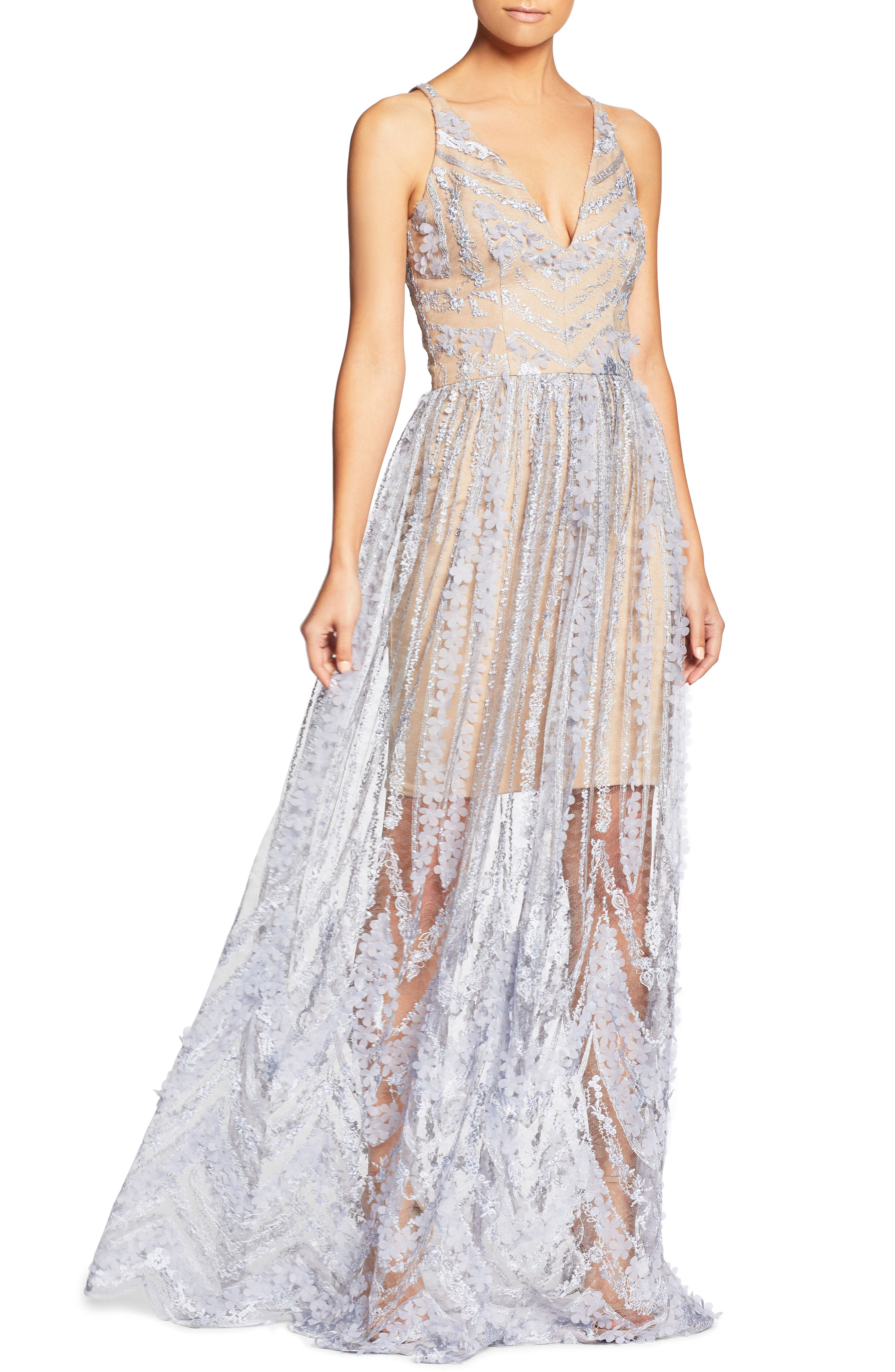 Chelsea Lace A-Line Gown,                             Main thumbnail 1, color,                             Mineral Blue/ Nude