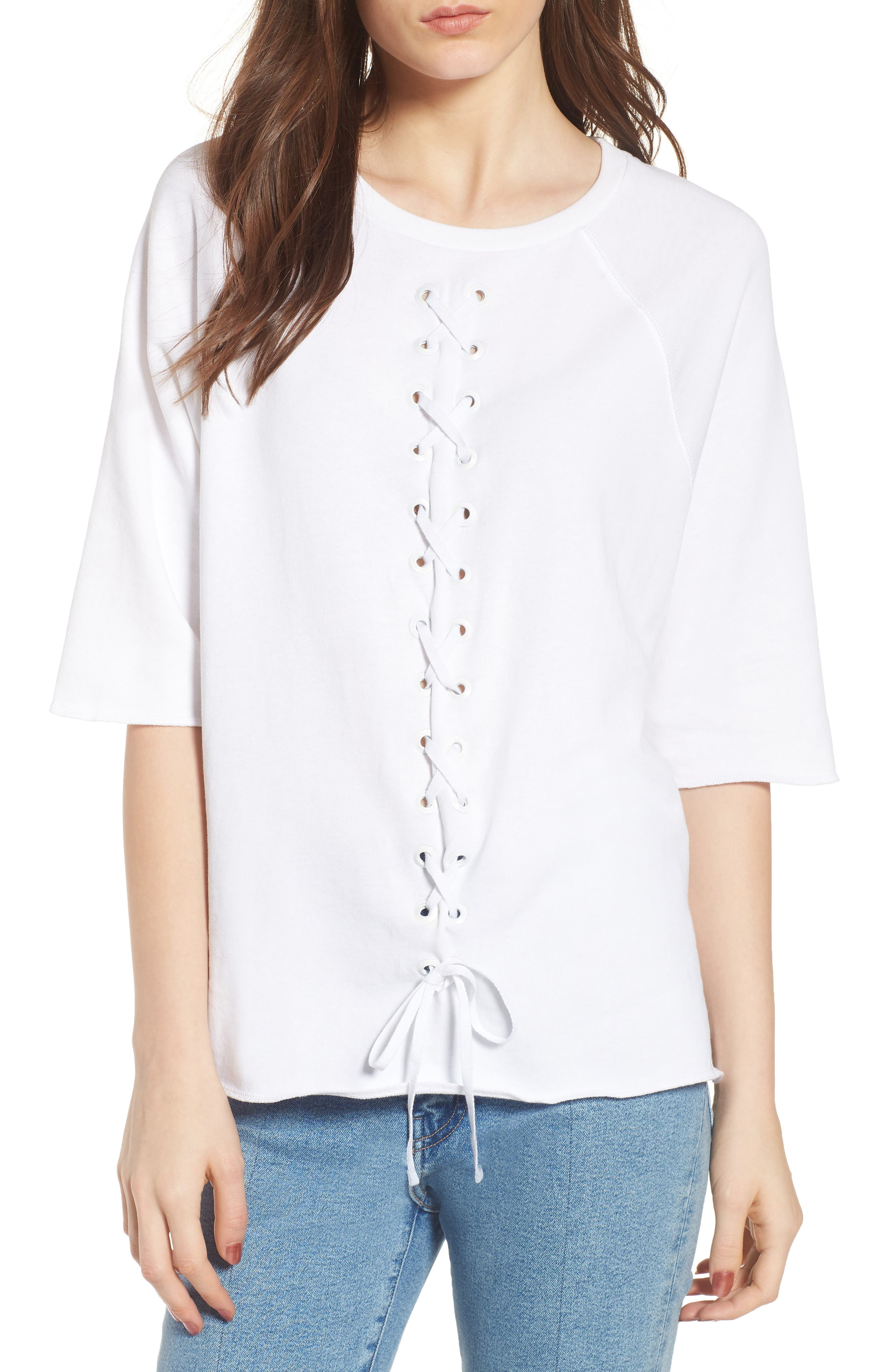 Julie - Vertical Eyelets Terry Top,                             Main thumbnail 1, color,                             White
