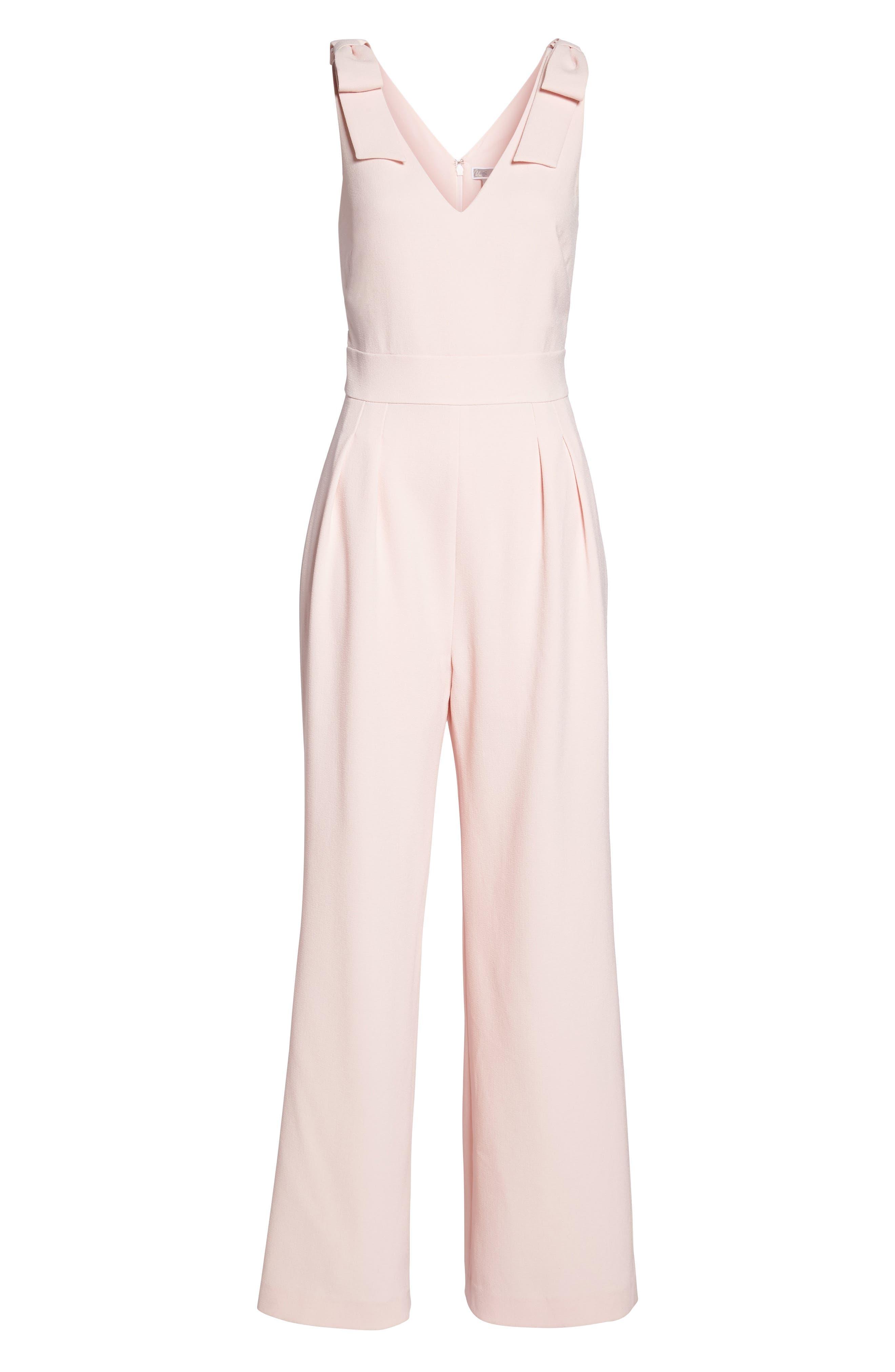 Bow Shoulder Jumpsuit,                             Alternate thumbnail 6, color,                             Pink Potpourri