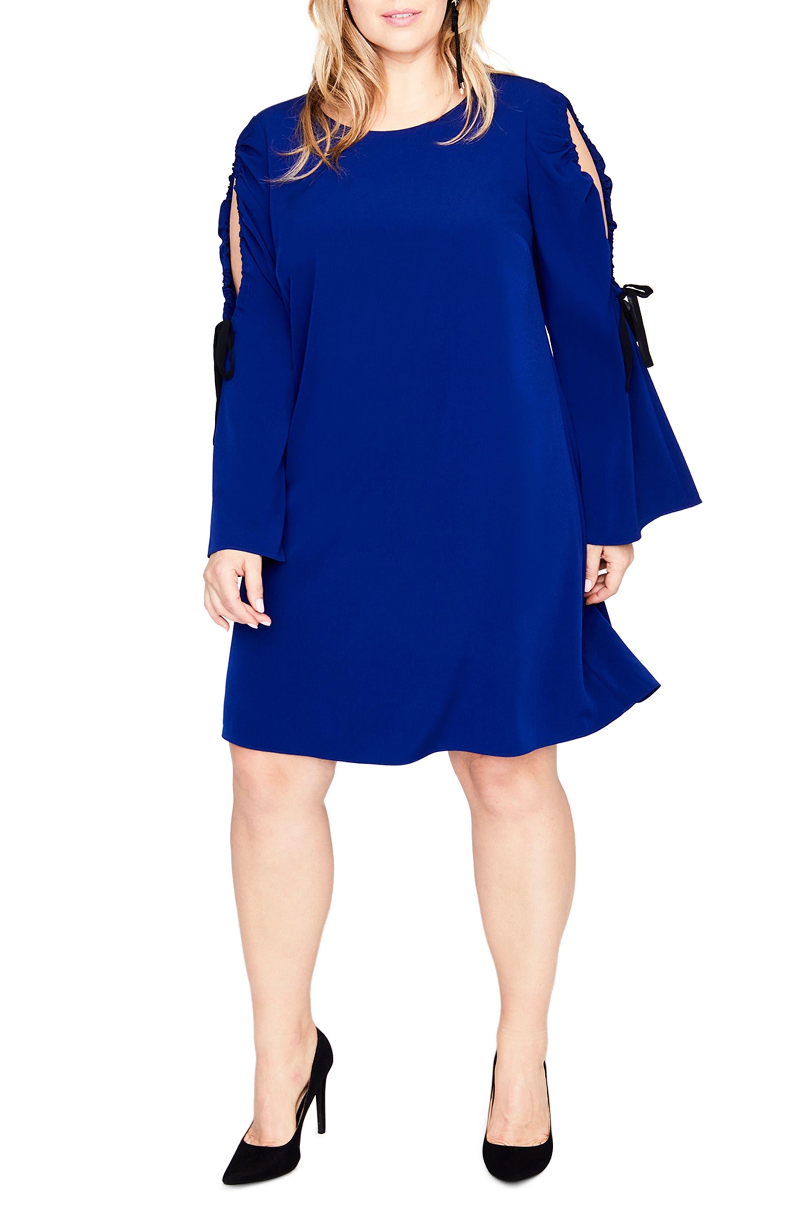 Split Tie Sleeve Shift Dress,                         Main,                         color, Blue Violet