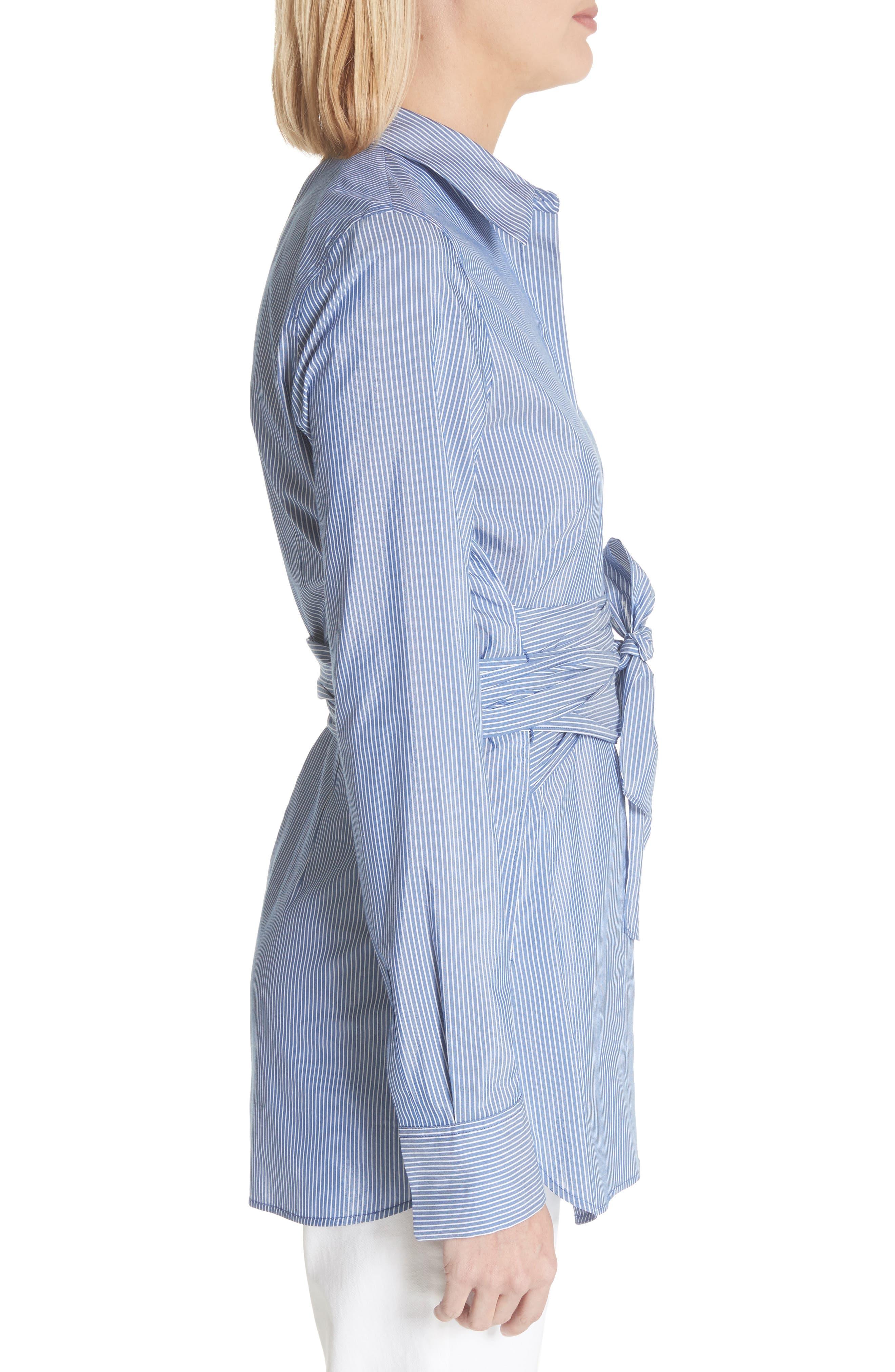 Cordelia Tie Waist Blouse,                             Alternate thumbnail 3, color,                             Delft Multi