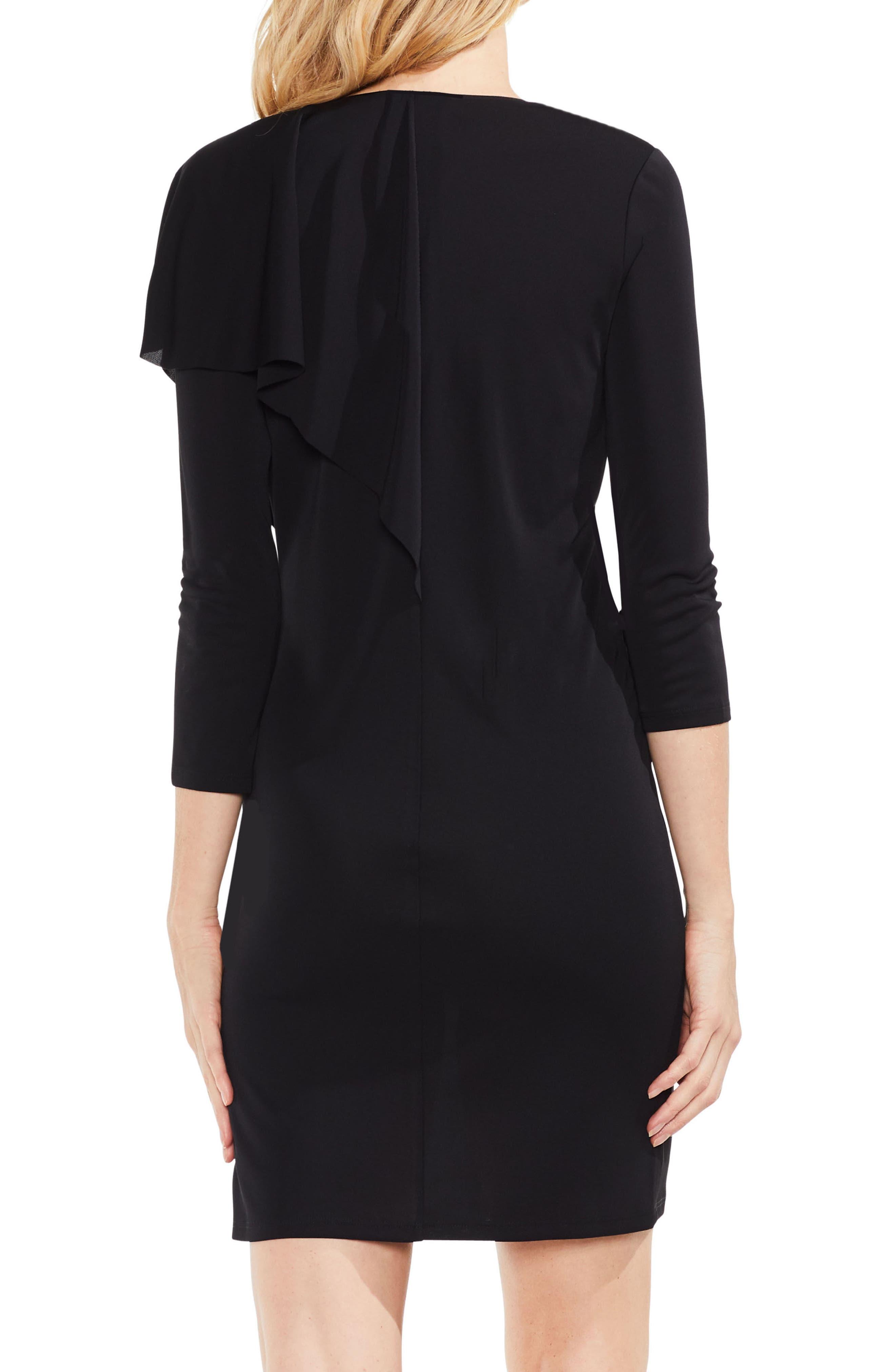 Asymmetrical Ruffle Drape Front Dress,                             Alternate thumbnail 2, color,                             Rich Black