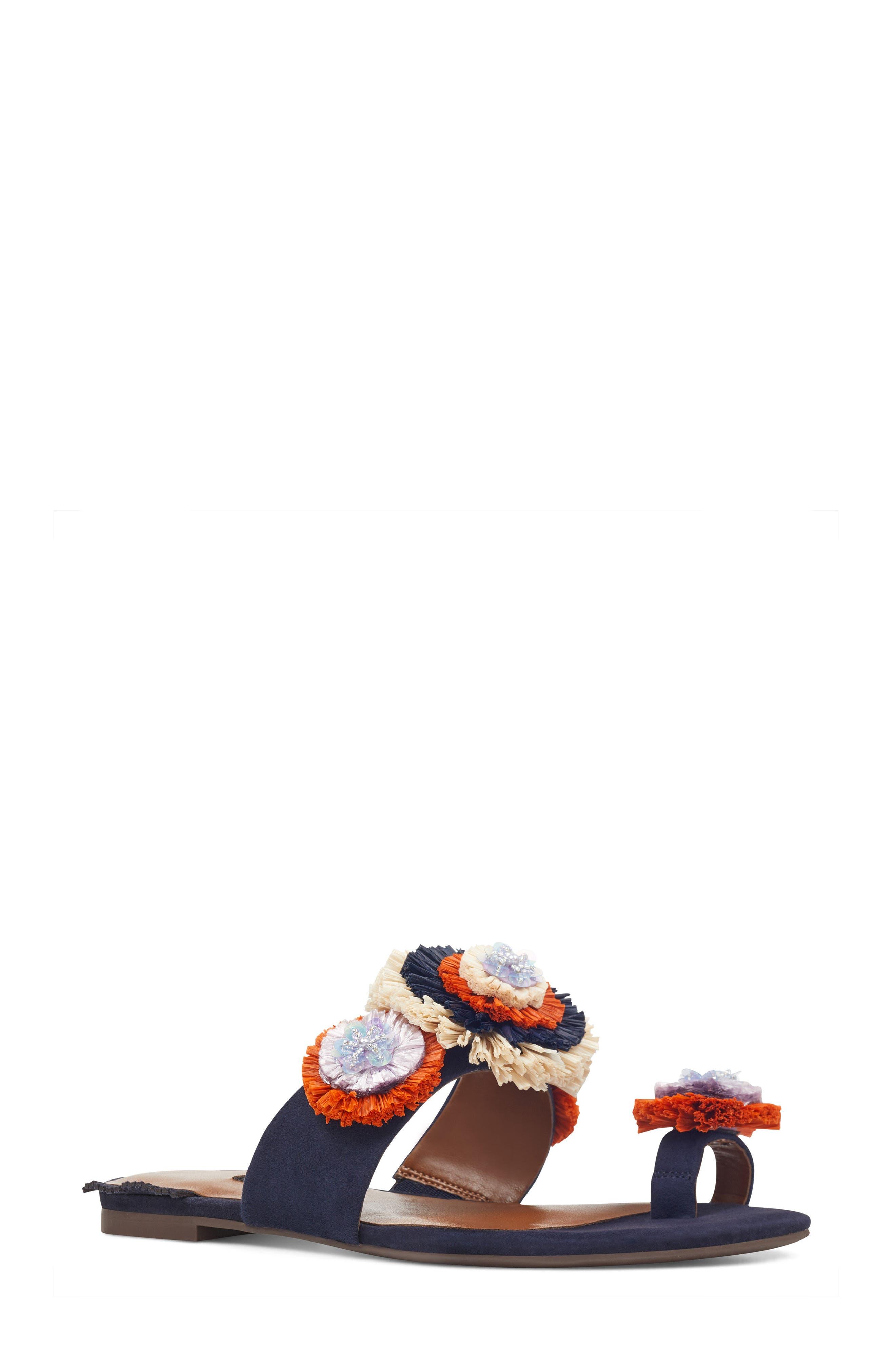 Nine West Sendran Raffia Flower Sandal (Women)