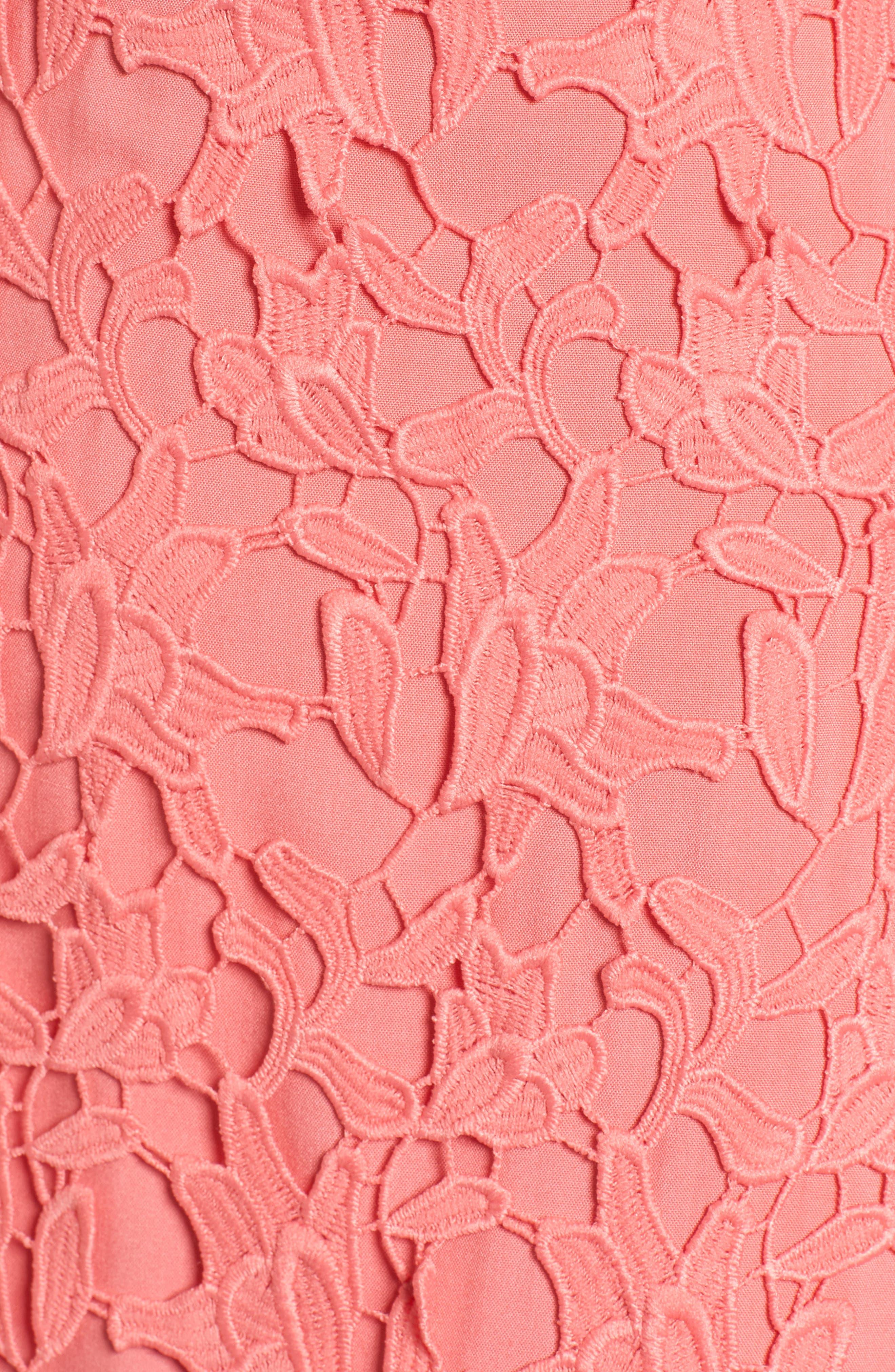 Off the Shoulder Lace Minidress,                             Alternate thumbnail 6, color,                             Coral